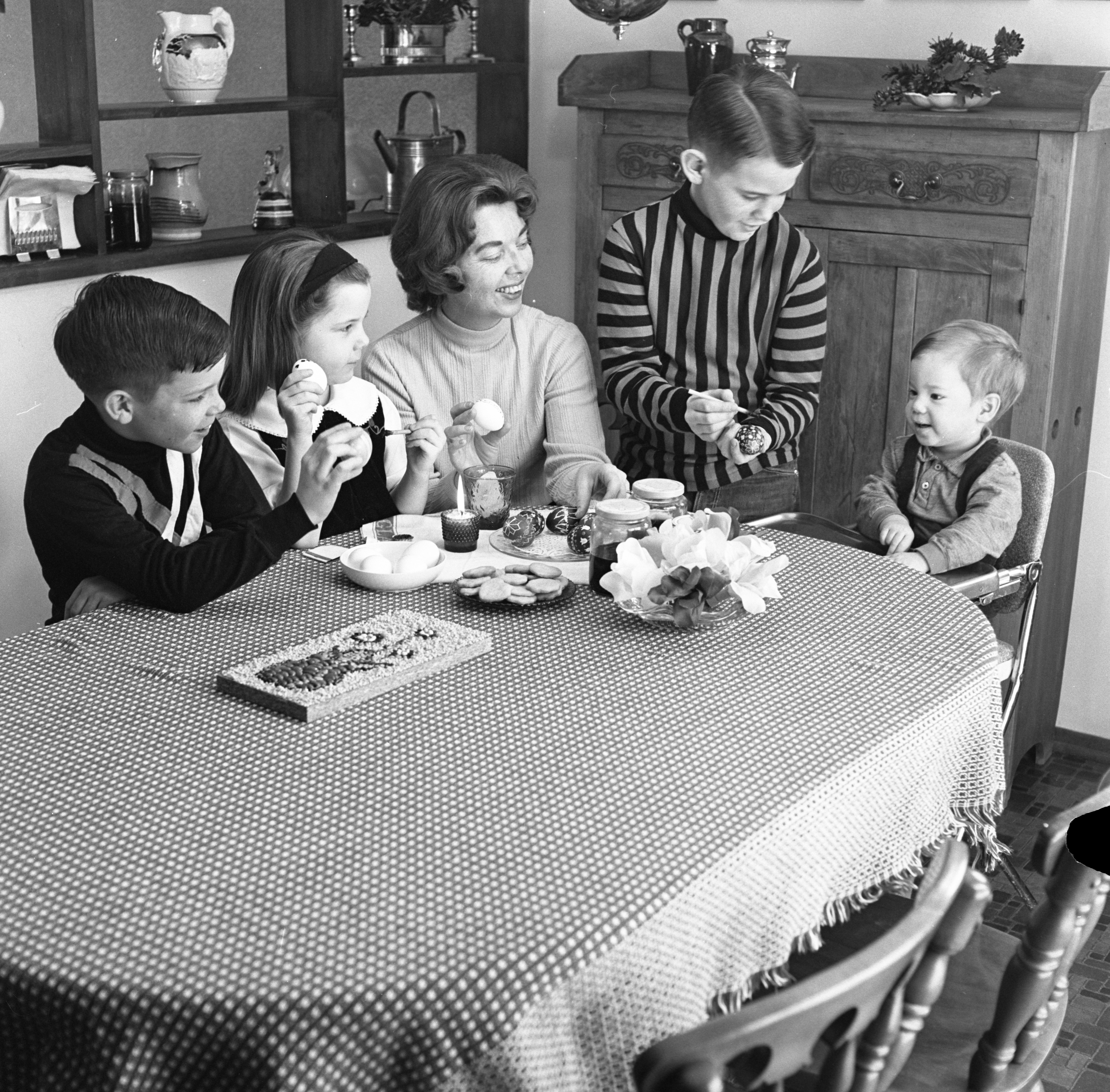 The Richard Chesbrough Family Coloring Easter Eggs, March 1967 image