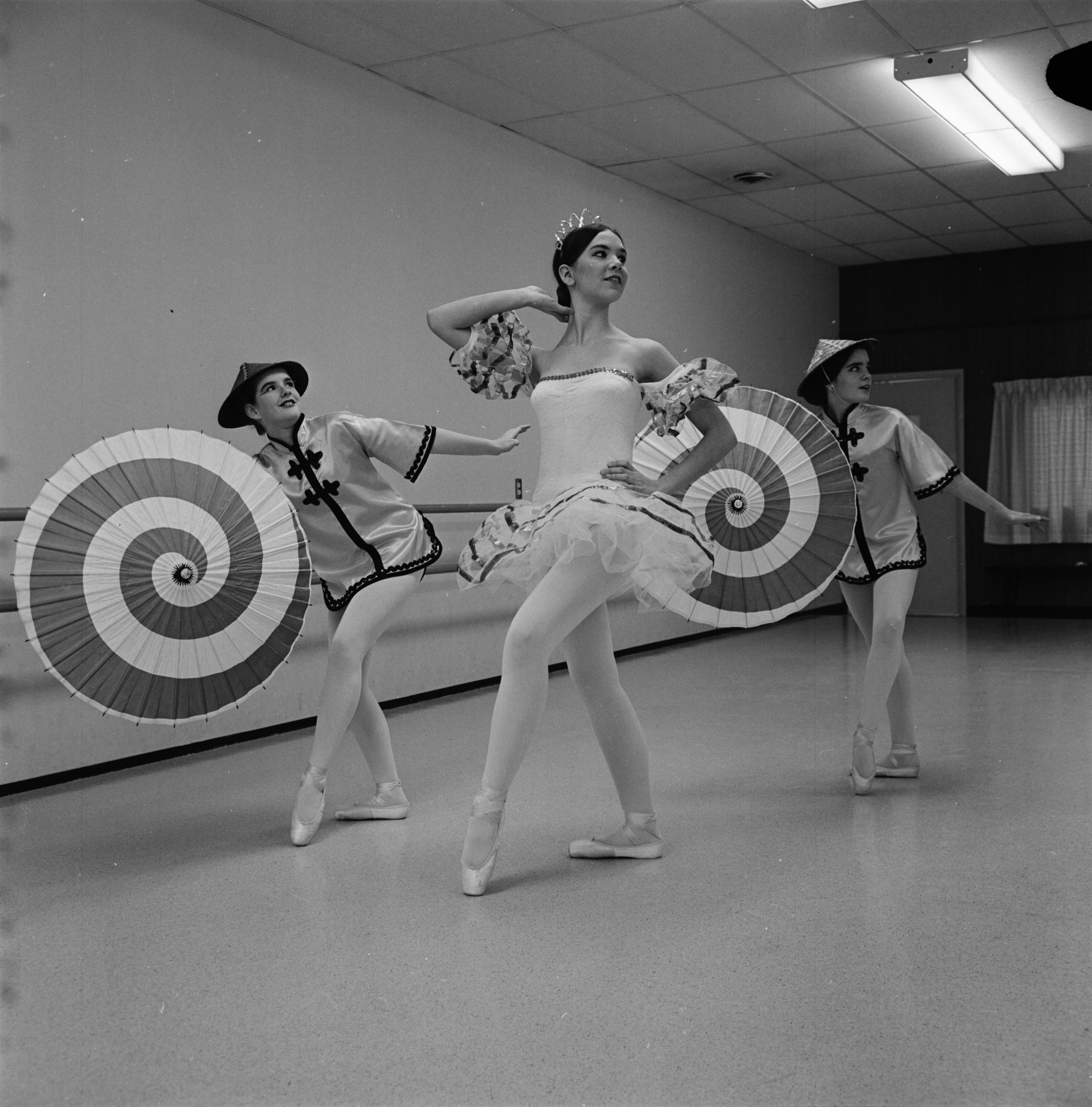 "Dancers from the Dance Art Studio Ballet prepare for a performance of ""The Nutcracker,"" December 1967 image"