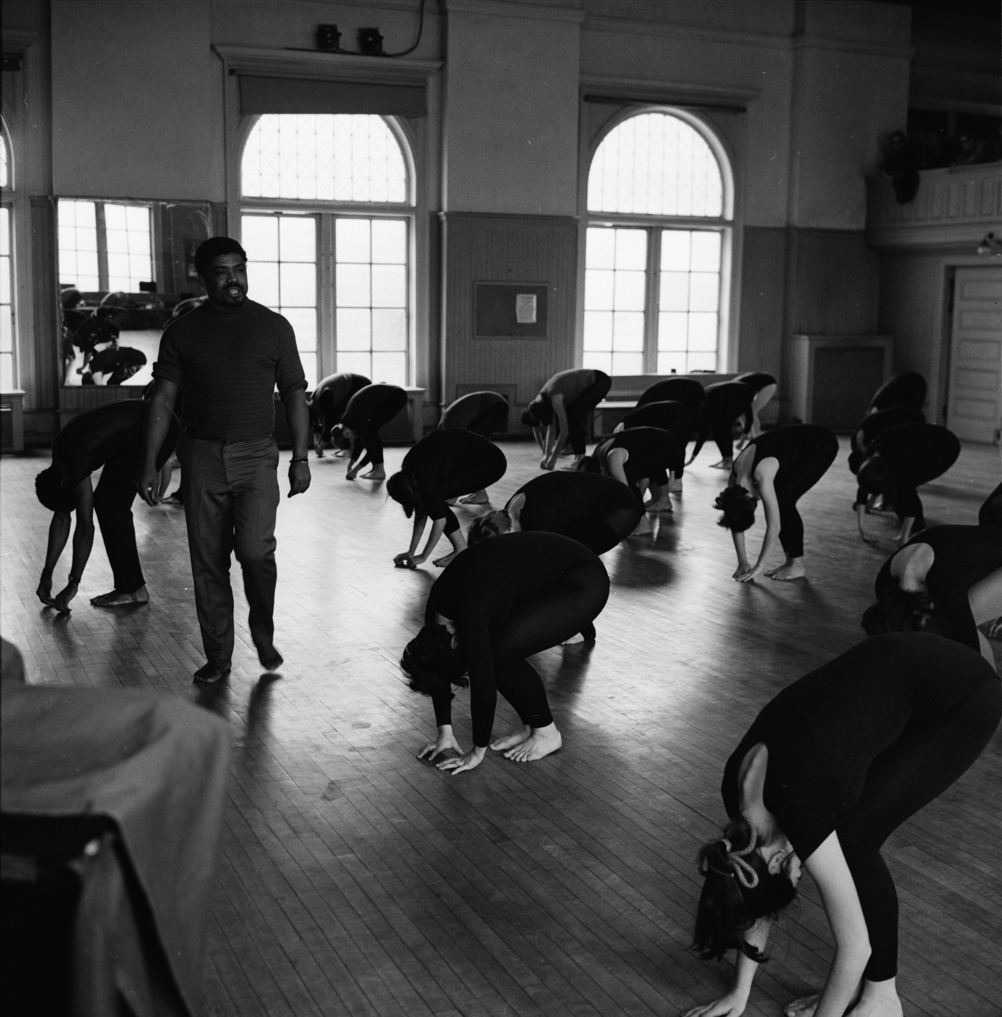 Alvin Ailey of Alvin Ailey American Dance Theater visits University of Michigan dance class, February 1969 image