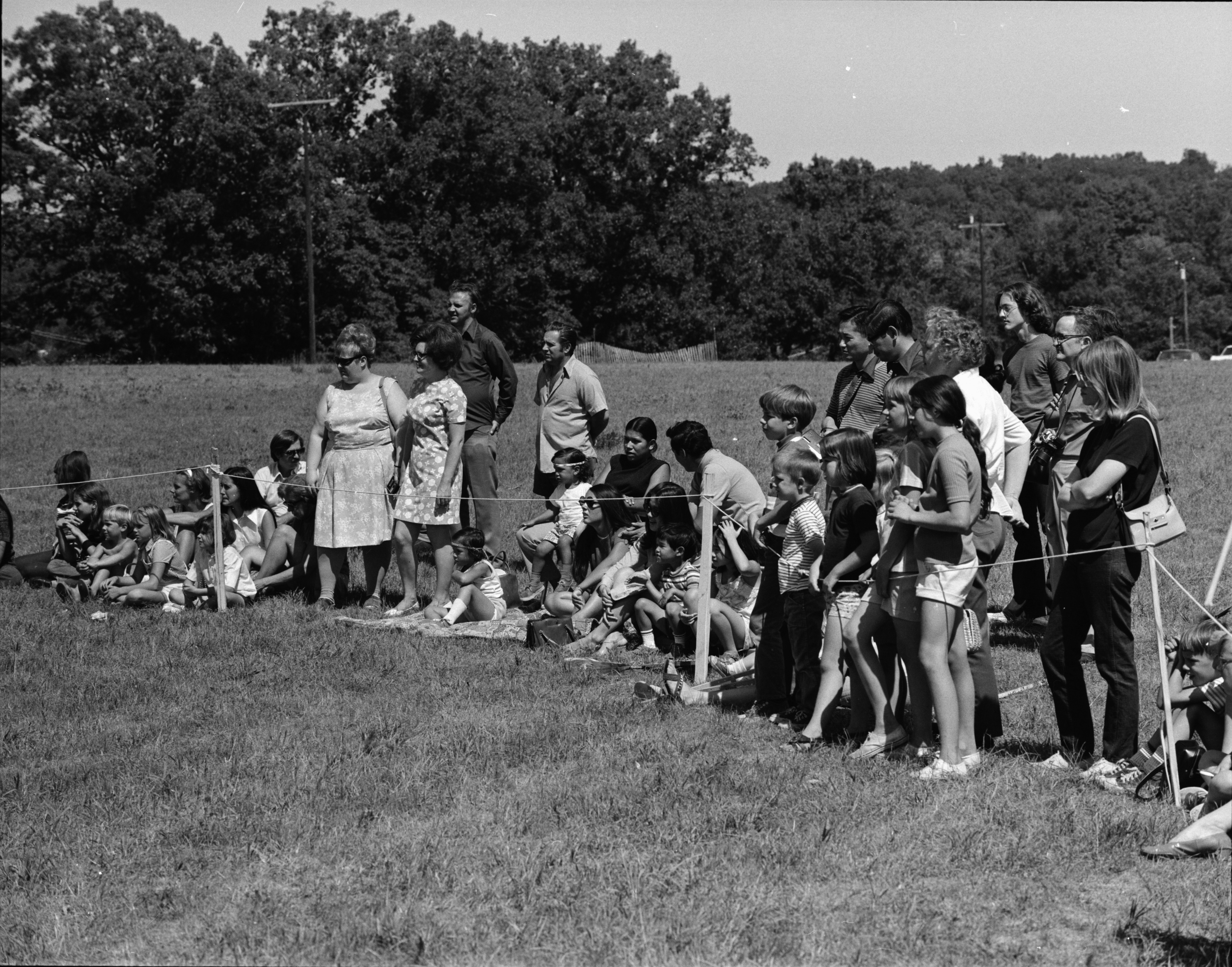 Watching the Michigan Indian Powwow, Knights of Columbus Park, Dexter Rd., August 1971 image
