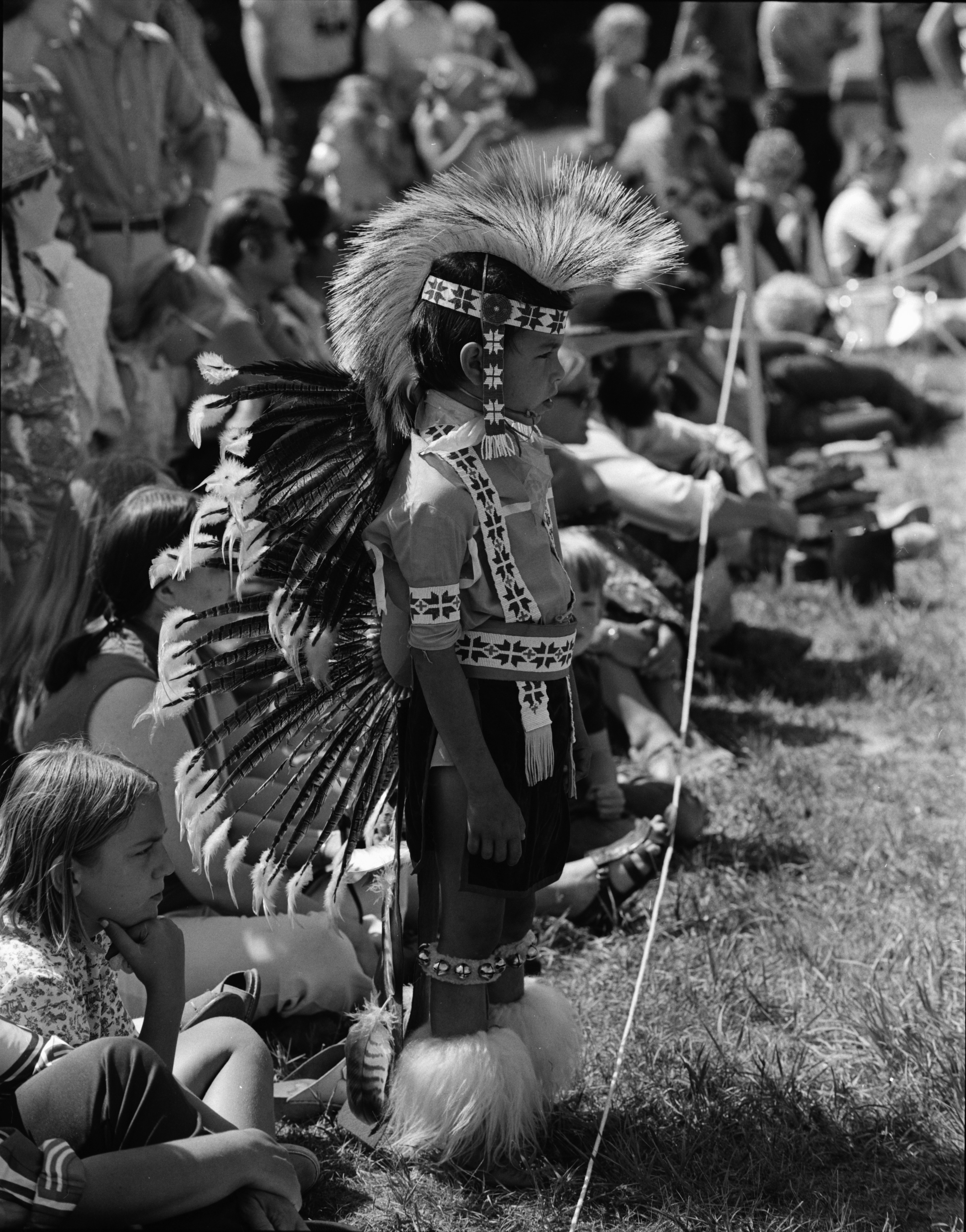 Young boy, Michigan Indian Powwow, Knights of Columbus Park, Dexter Rd., August 1971 image
