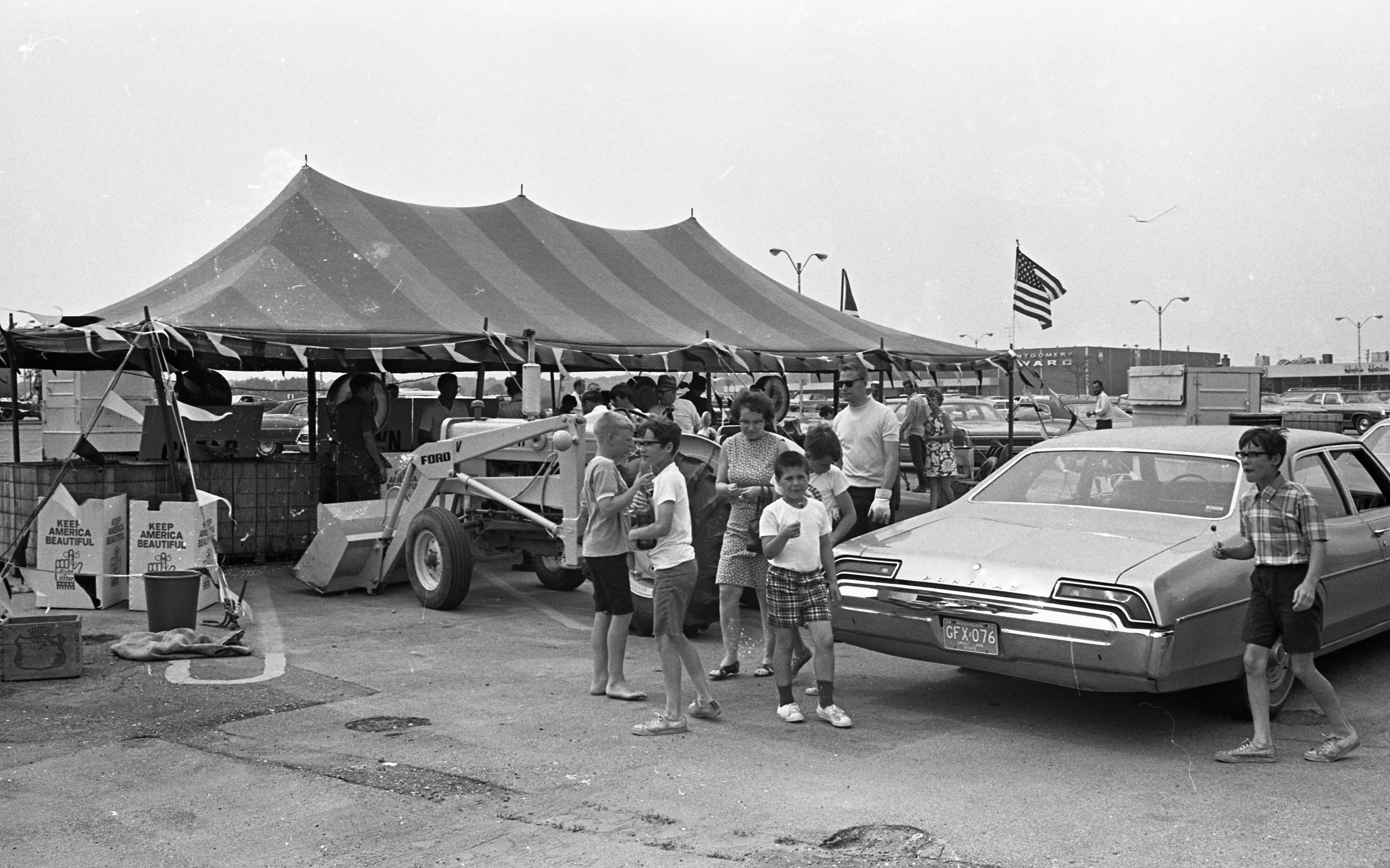 Crowd Shows Up at ENACT Glass Recycling Day at Arborland Shopping Center, June 1970 image