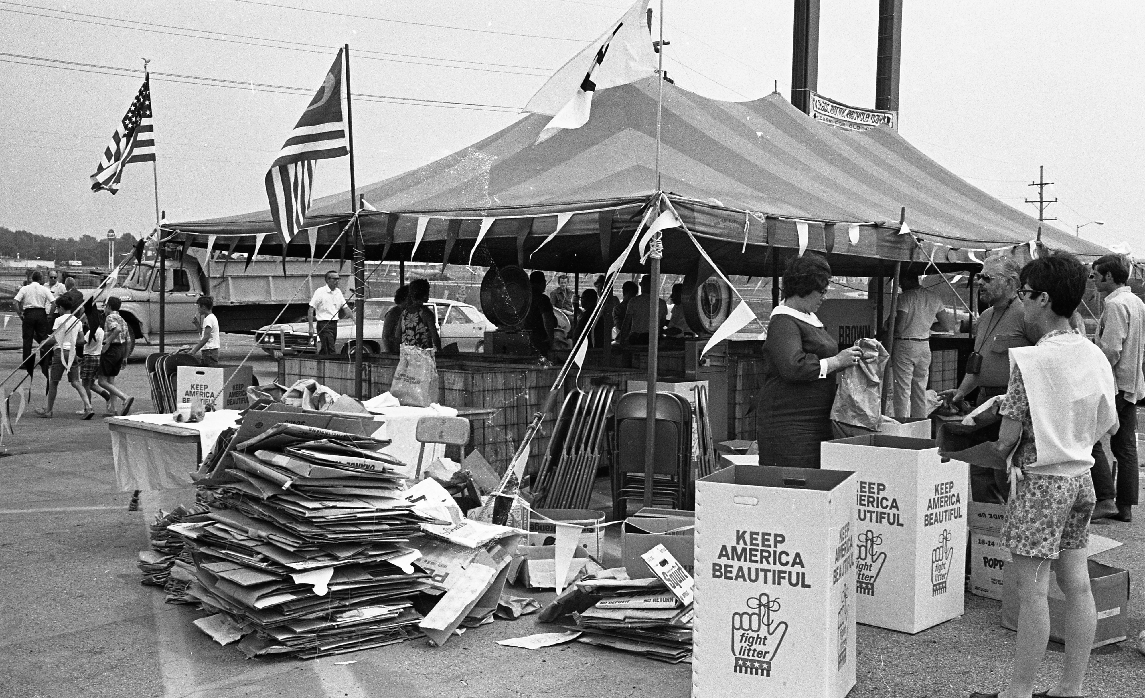 ENACT Volunteers Sort Glass at  Recycling Day at Arborland Shopping Center, June 1970 image