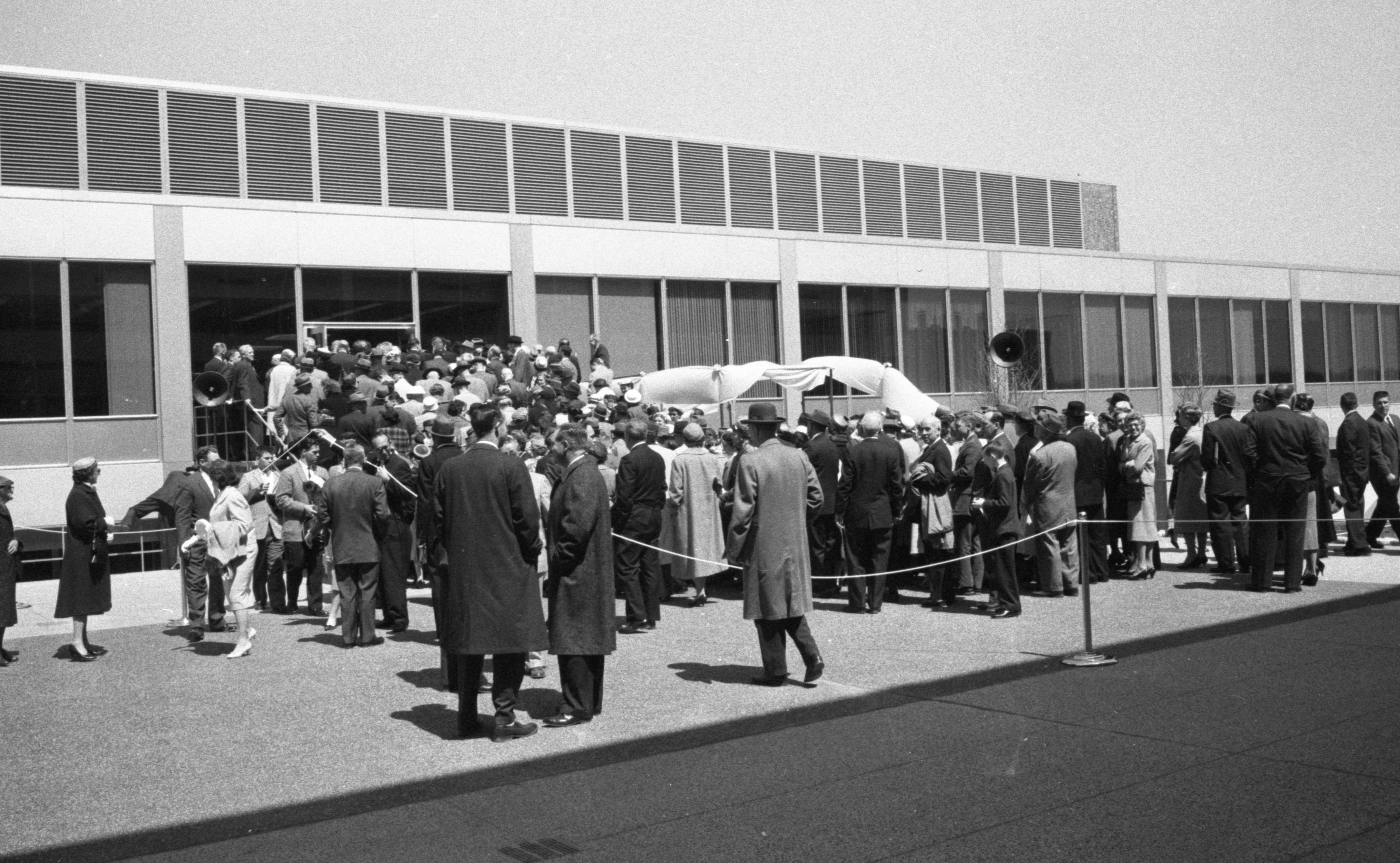 A Crowd Of Guests Enters The Building At The Formal Opening Of The New Ann Arbor Parke Davis Research Laboratories, April 1960 image