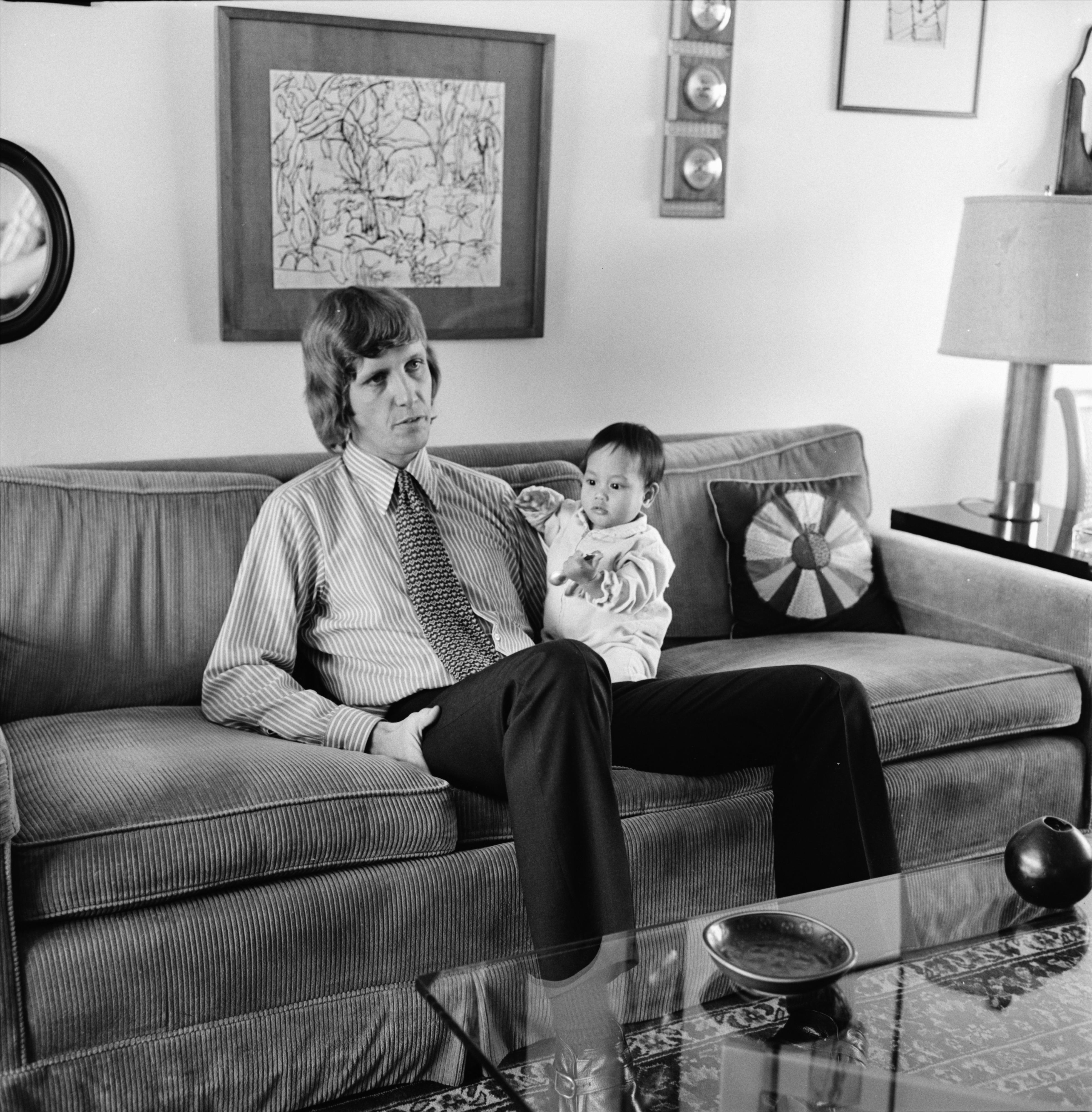 Benjamin Palmer Holds Daughter Leila, April 1974 image