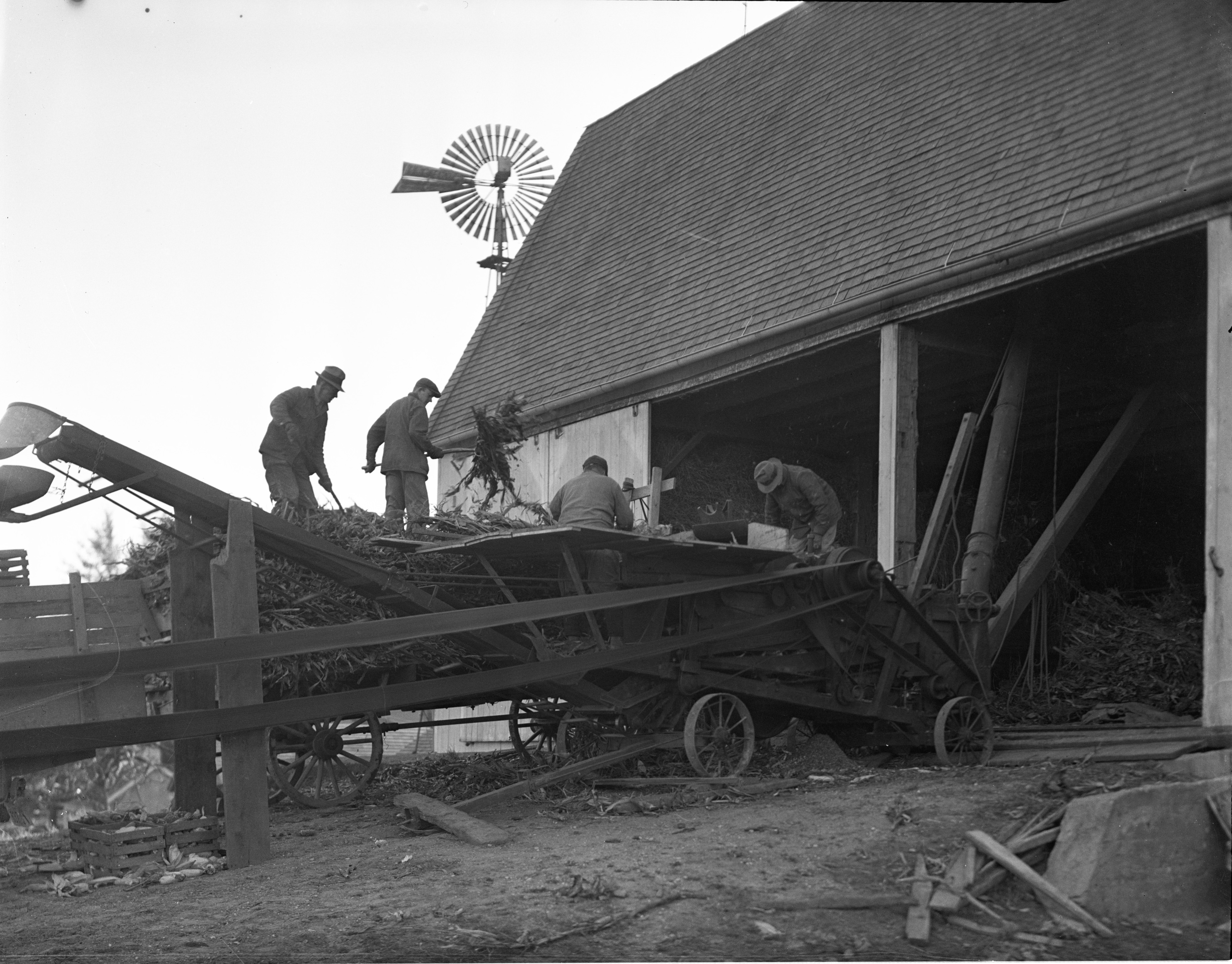 Corn Shredding On The Aprill Farm, November 1936 image