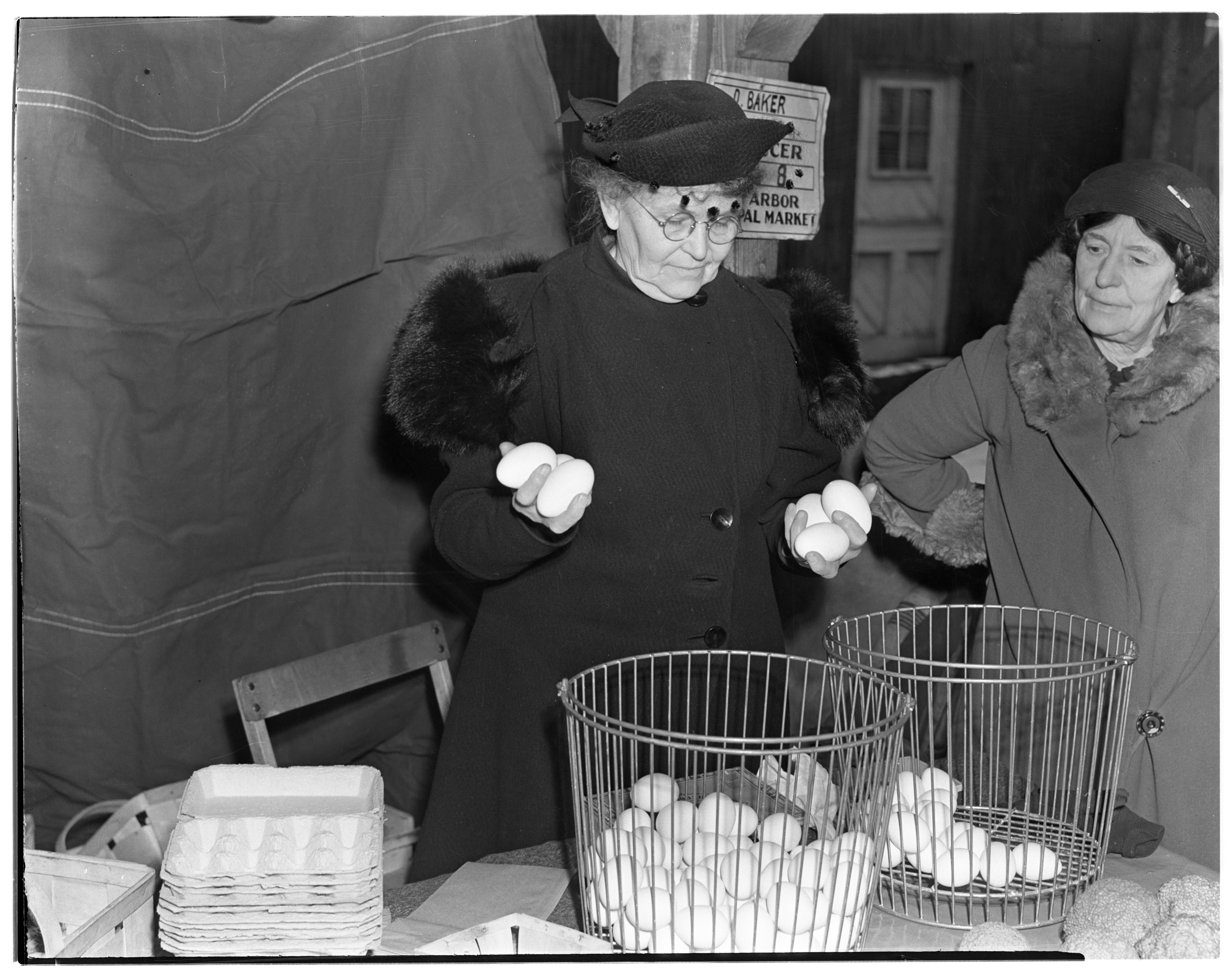 Marcia Baker With Double Yolk Eggs At The Ann Arbor Municipal Market, November 1938 image