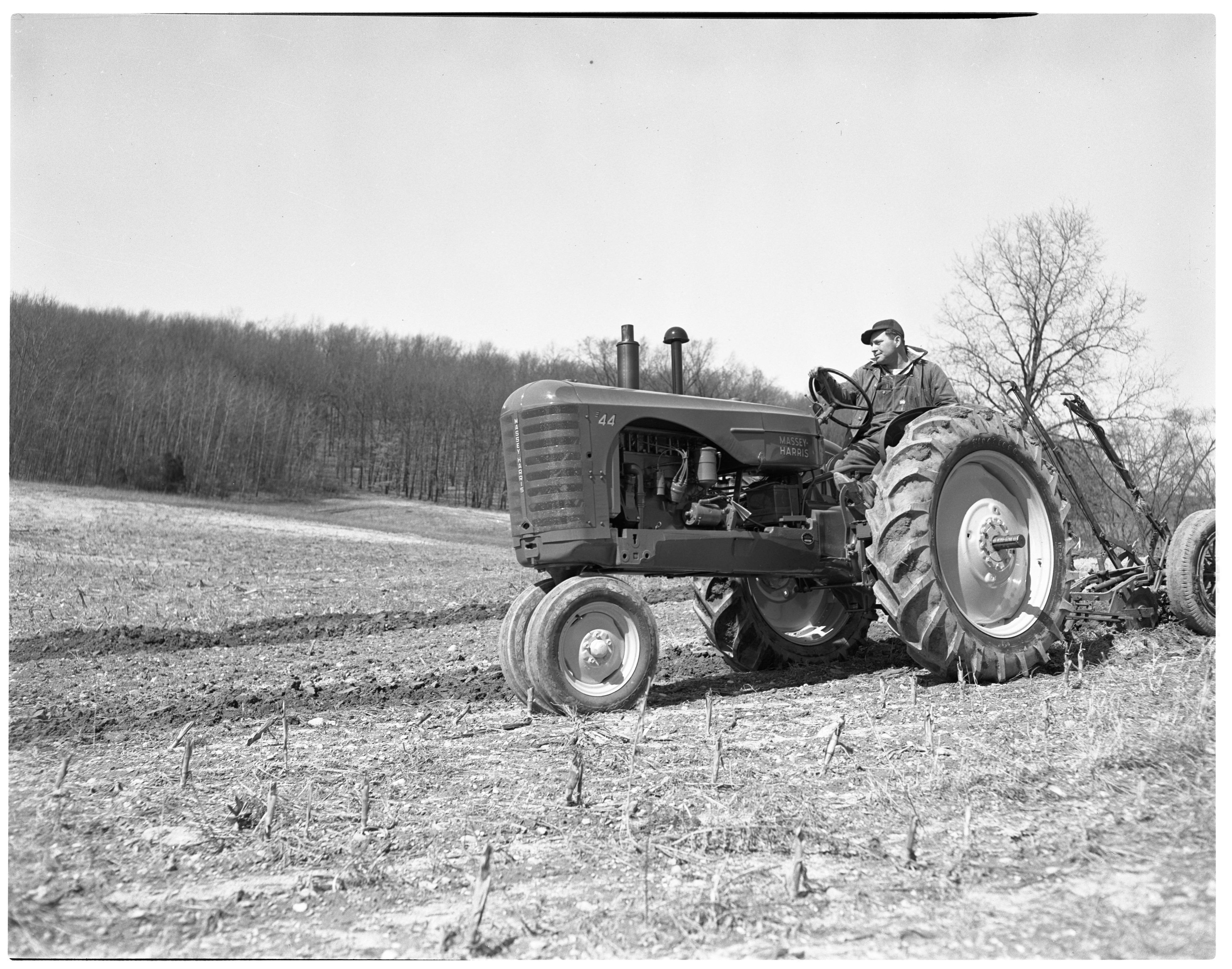 Massey-Harris Tractor Plows Warren Murdoch Farm, April 1949 image