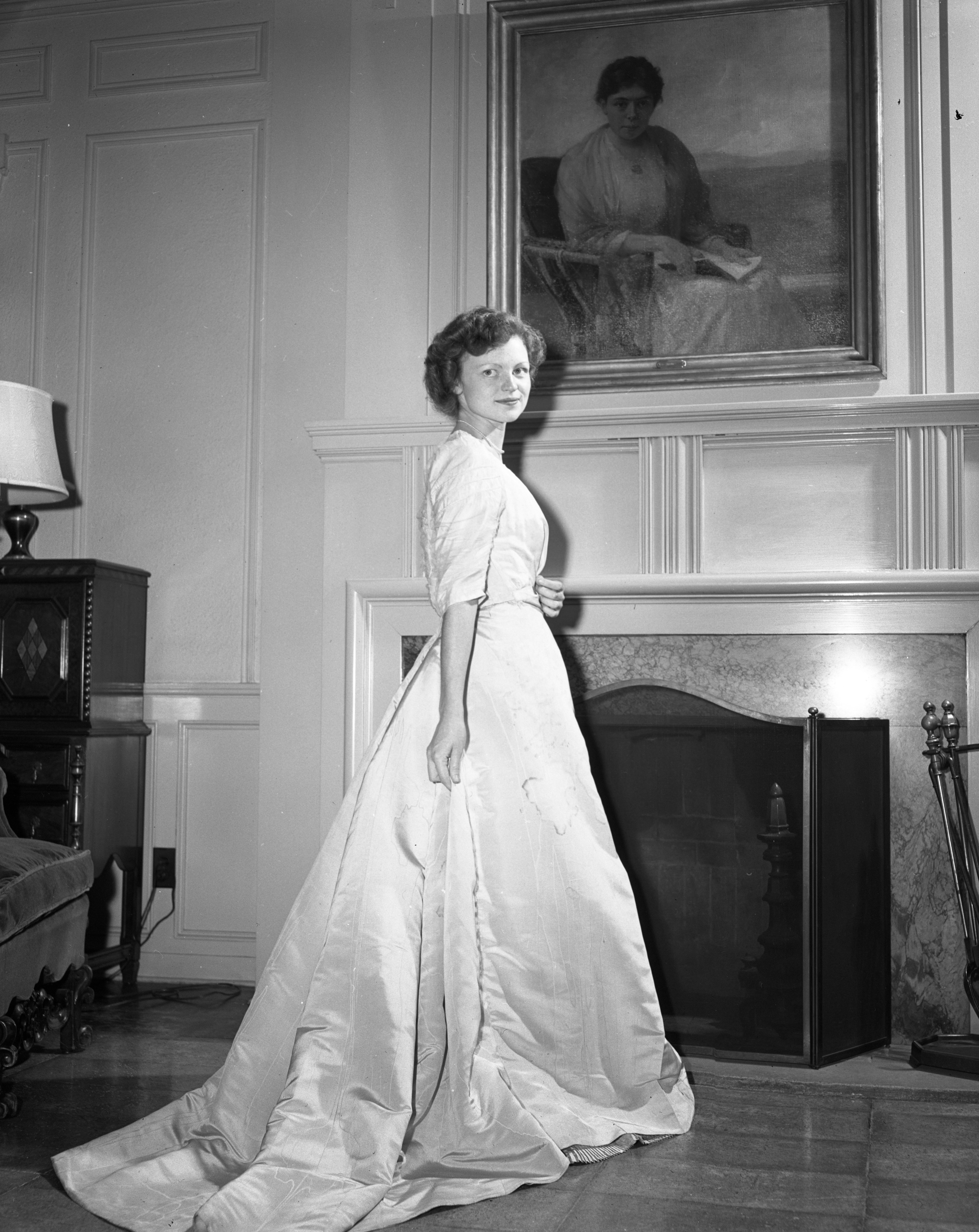 Old Dress Modeled at Michigan League, April 1949 image