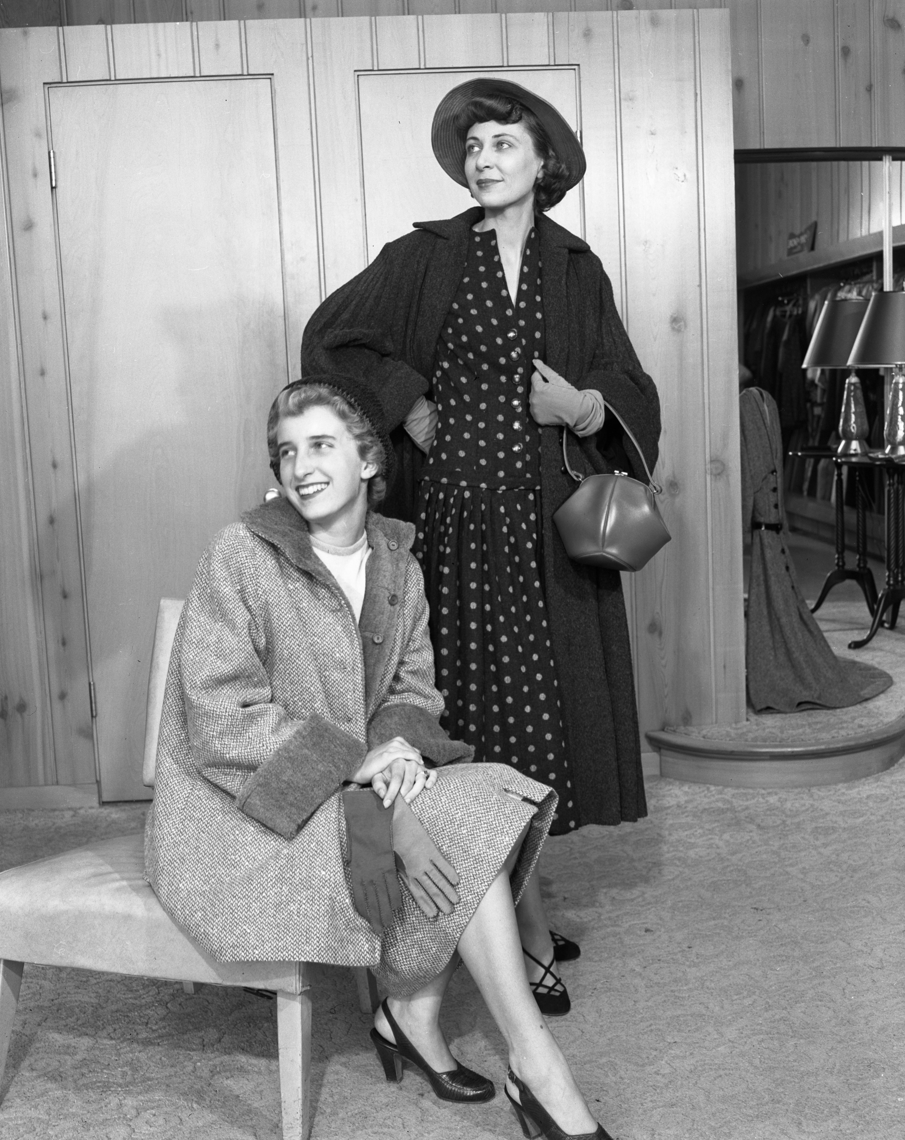 Mary Lou Hutzel and Ann Buhr model autumn fashions in the Hutzel Shop fashion show, August 1952 image