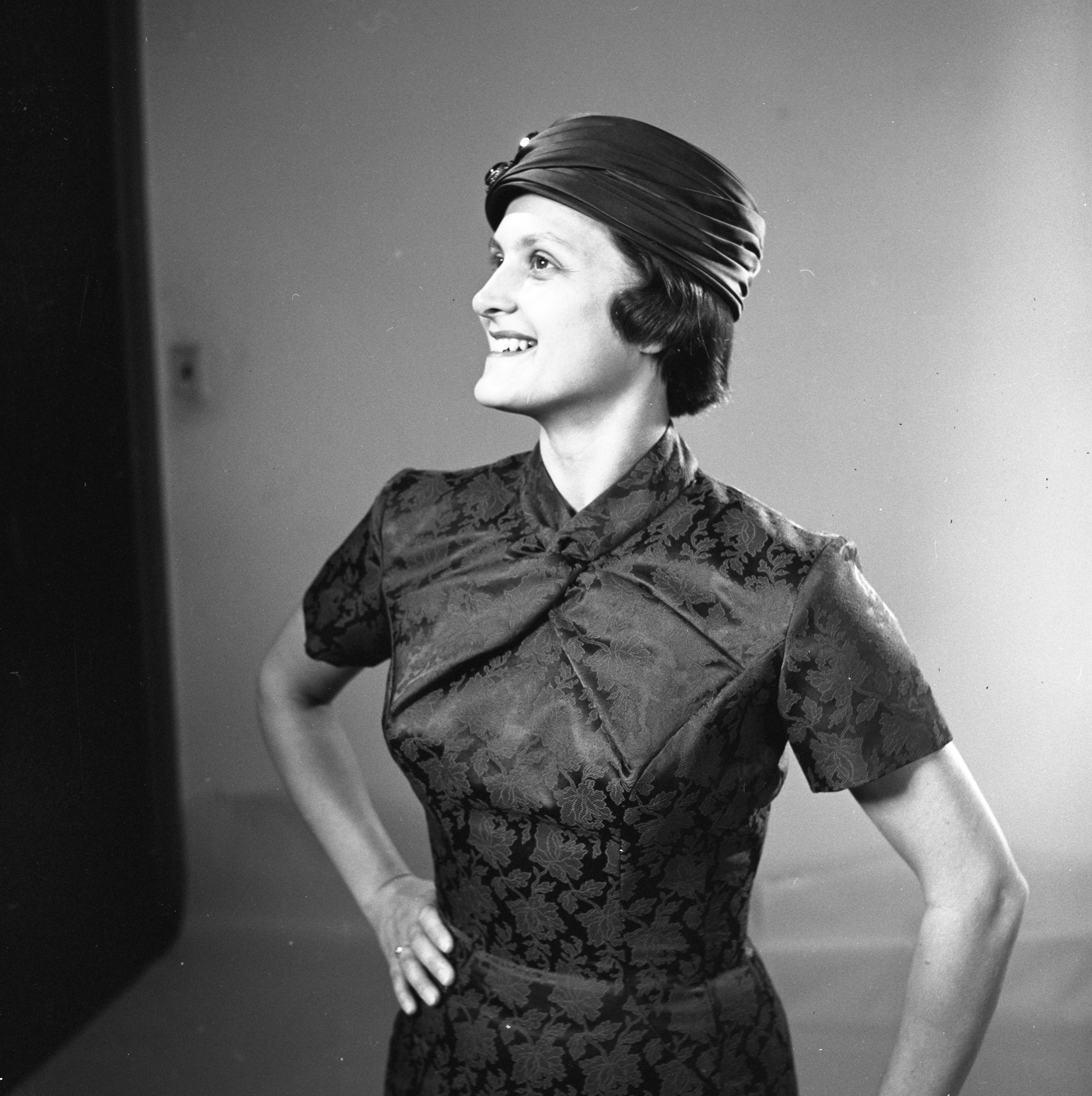 Edith Dale Models A Fall Cocktail Dress, October 1956 image