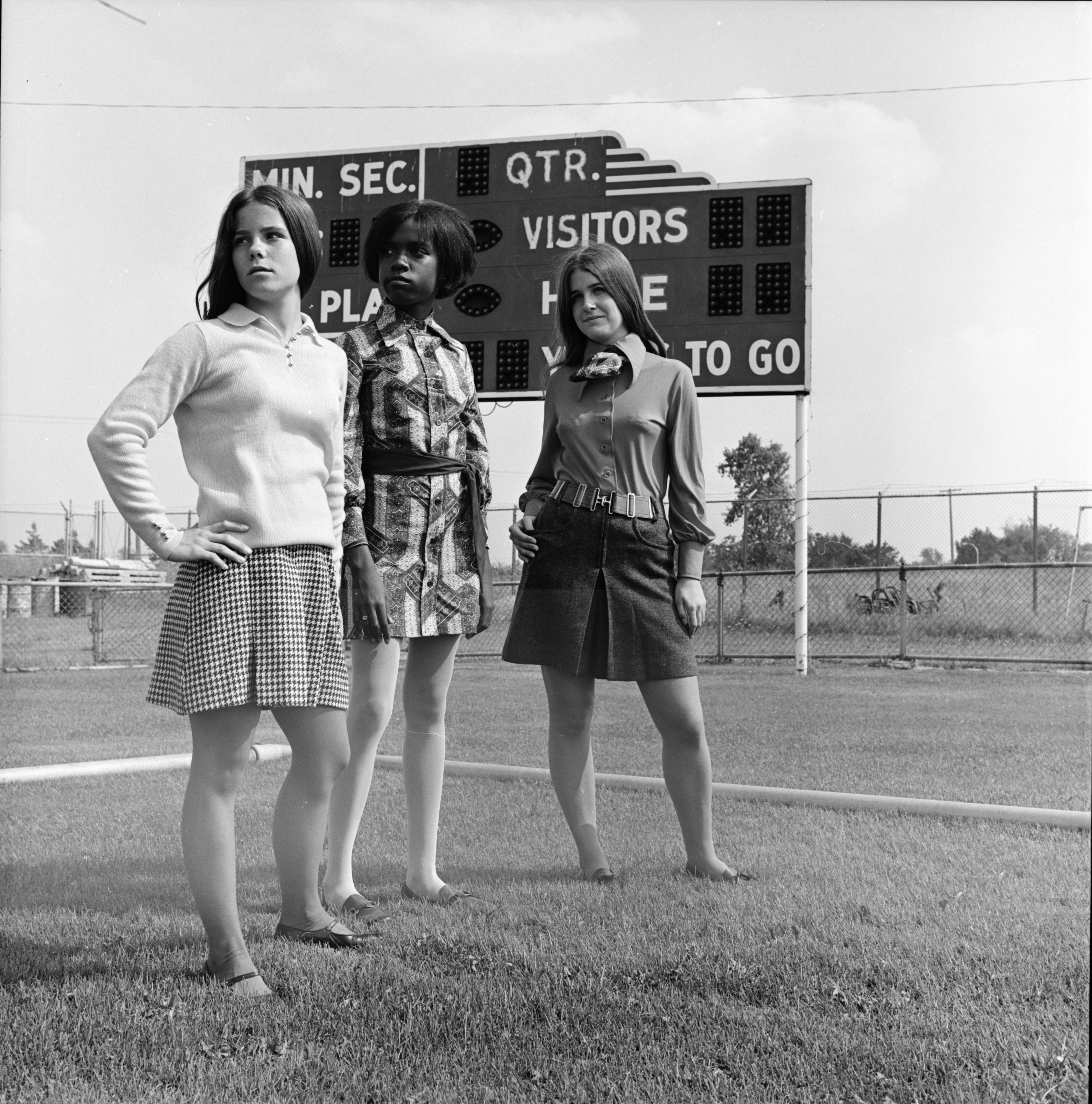 Sabrina Blackwell, Patty Leake, and Mary Gilleland model back-to-school fashions, September 1969 image