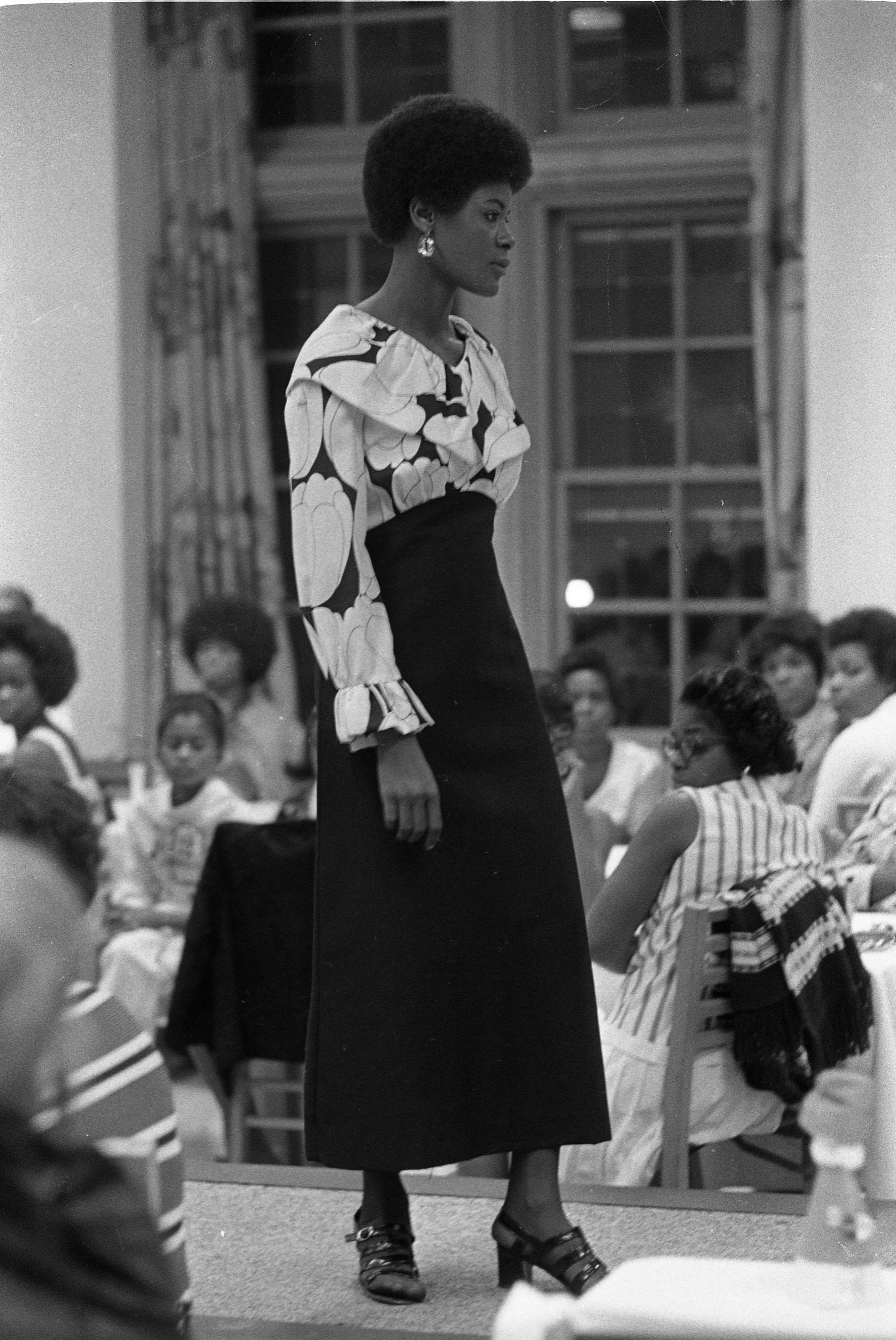 Shirley Walker Walks The Runway For Local Fashion Show, August 1971 image