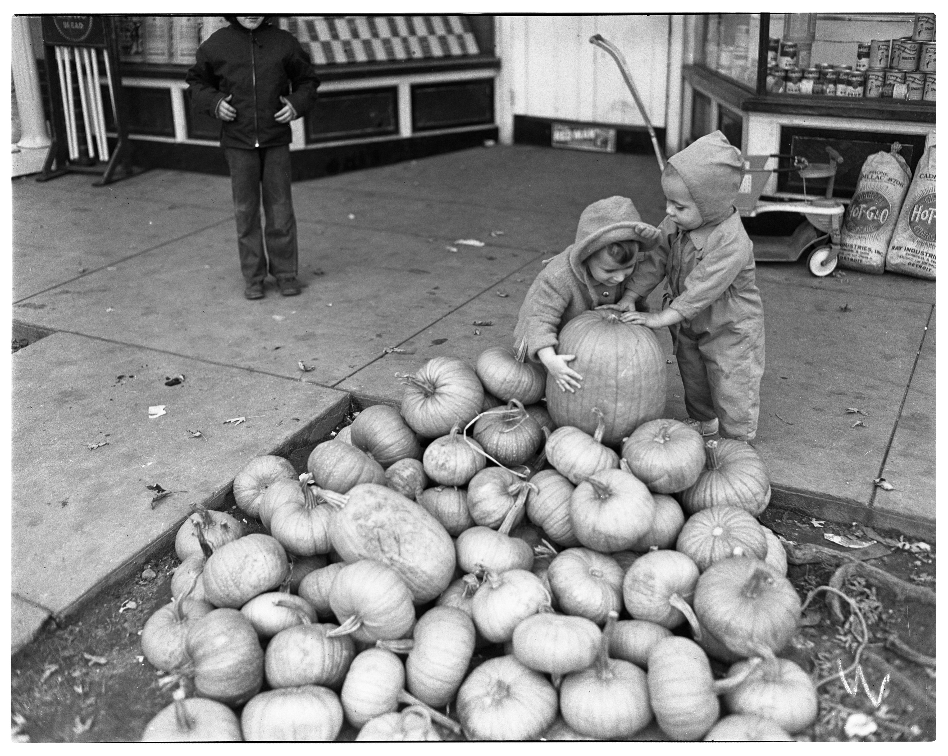 Eighth Street Market Gives Away Pumpkins, October 1947 image