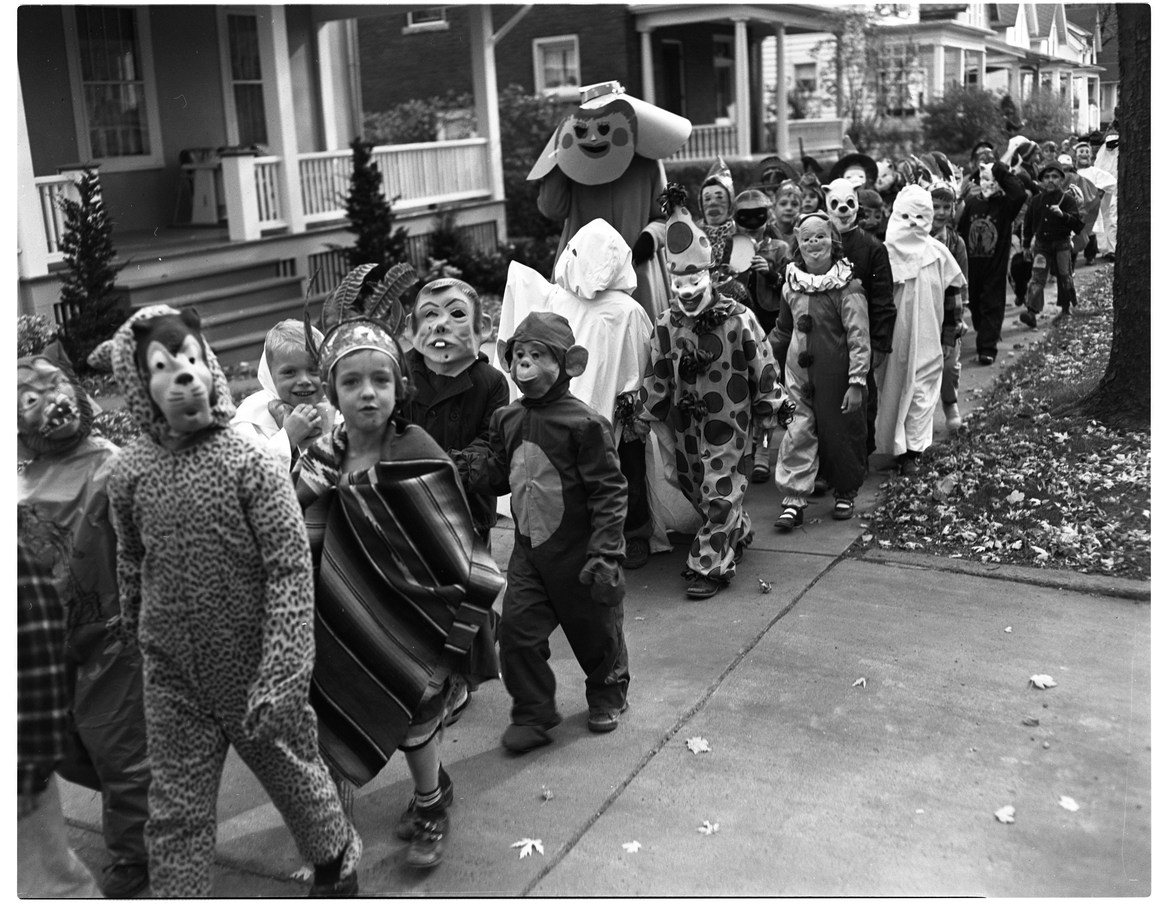 Burns Park School Halloween Parade, October 1951