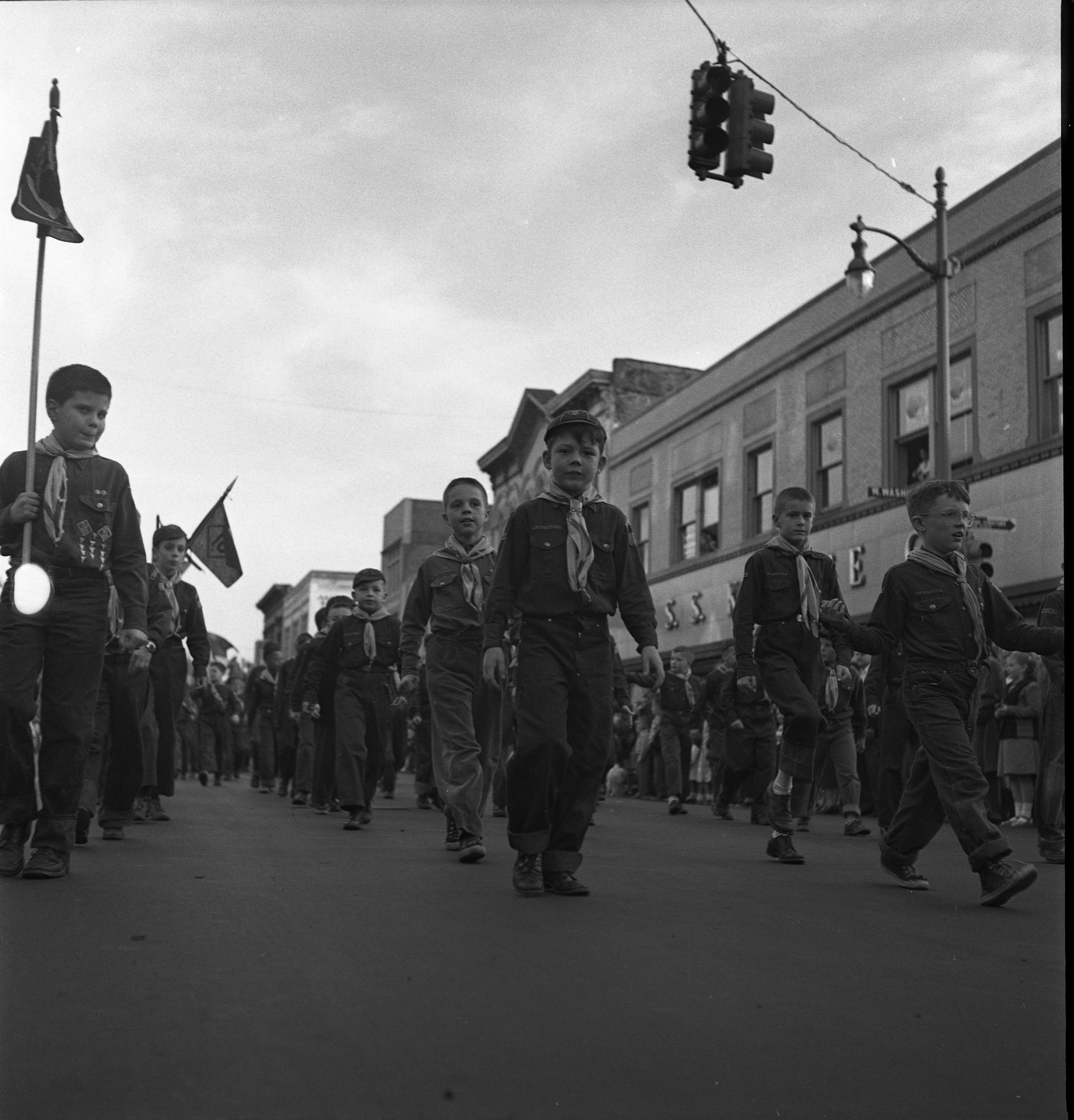 Cub Scouts Marching In Memorial Day Parade, May 1952 image