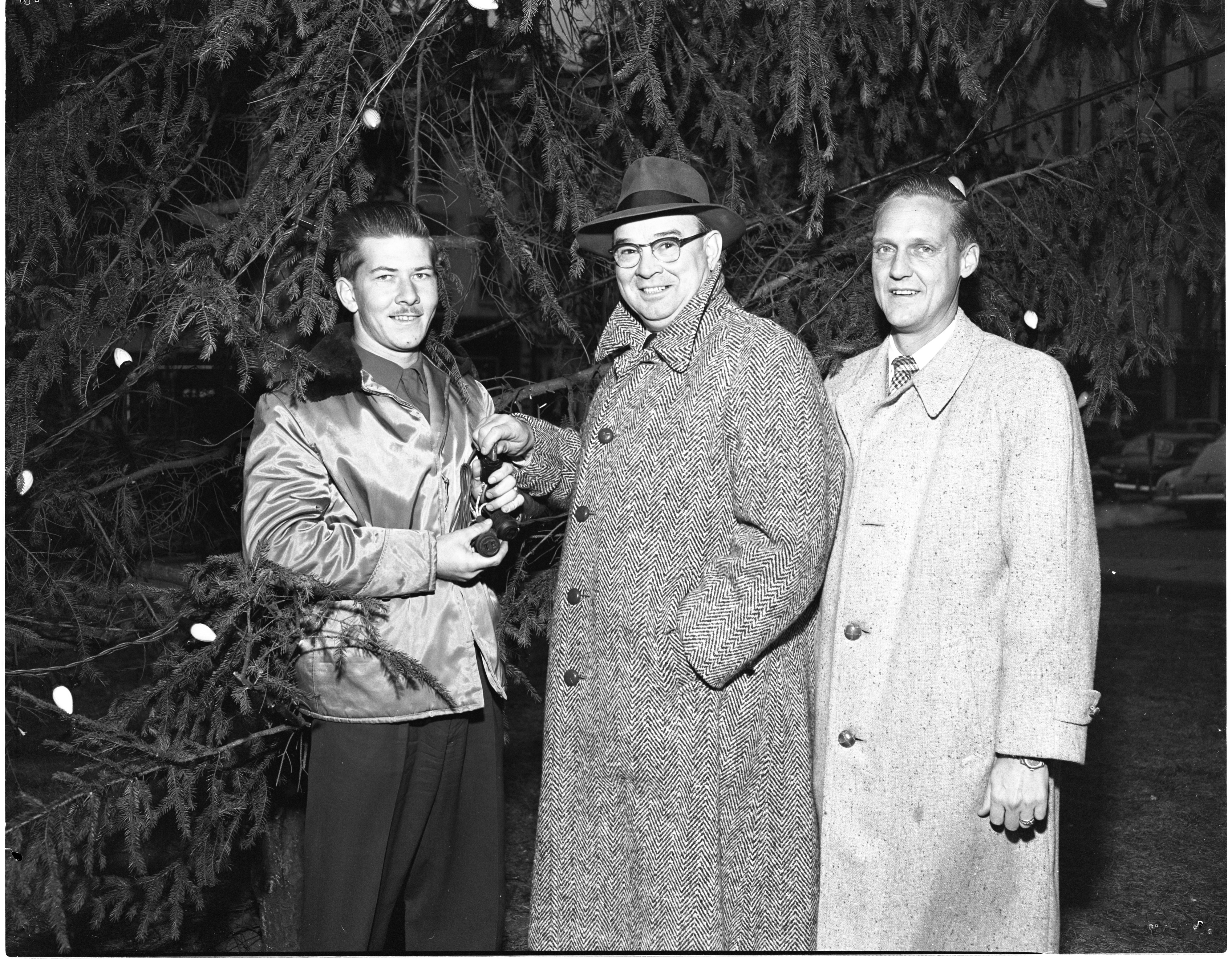 Mayor William E. Brown Jr. Lights Ann Arbor's Christmas Tree, December 1952 image