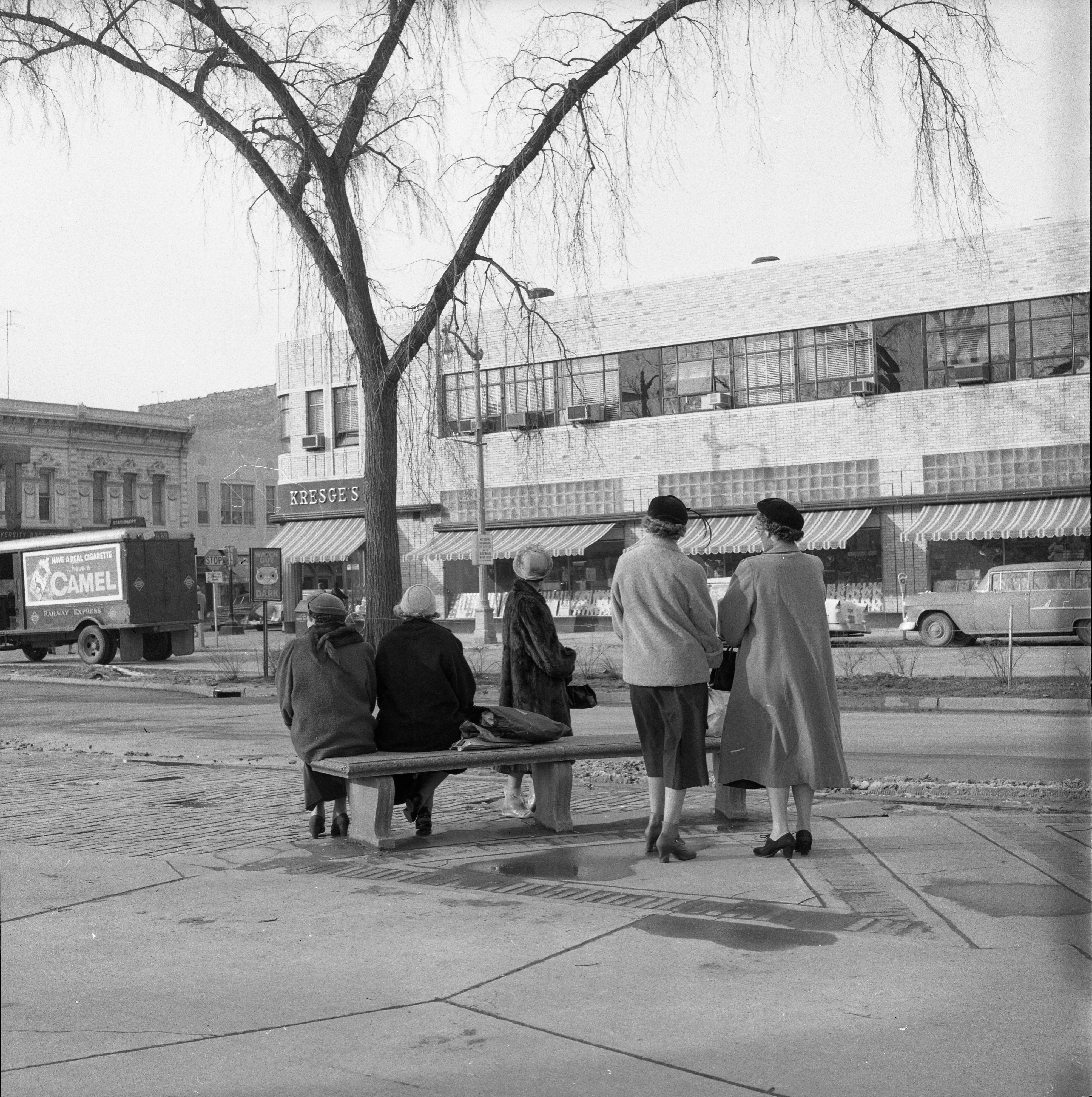 People Waiting For Bus Across From Kresge's On S University Ave, February 1957 image
