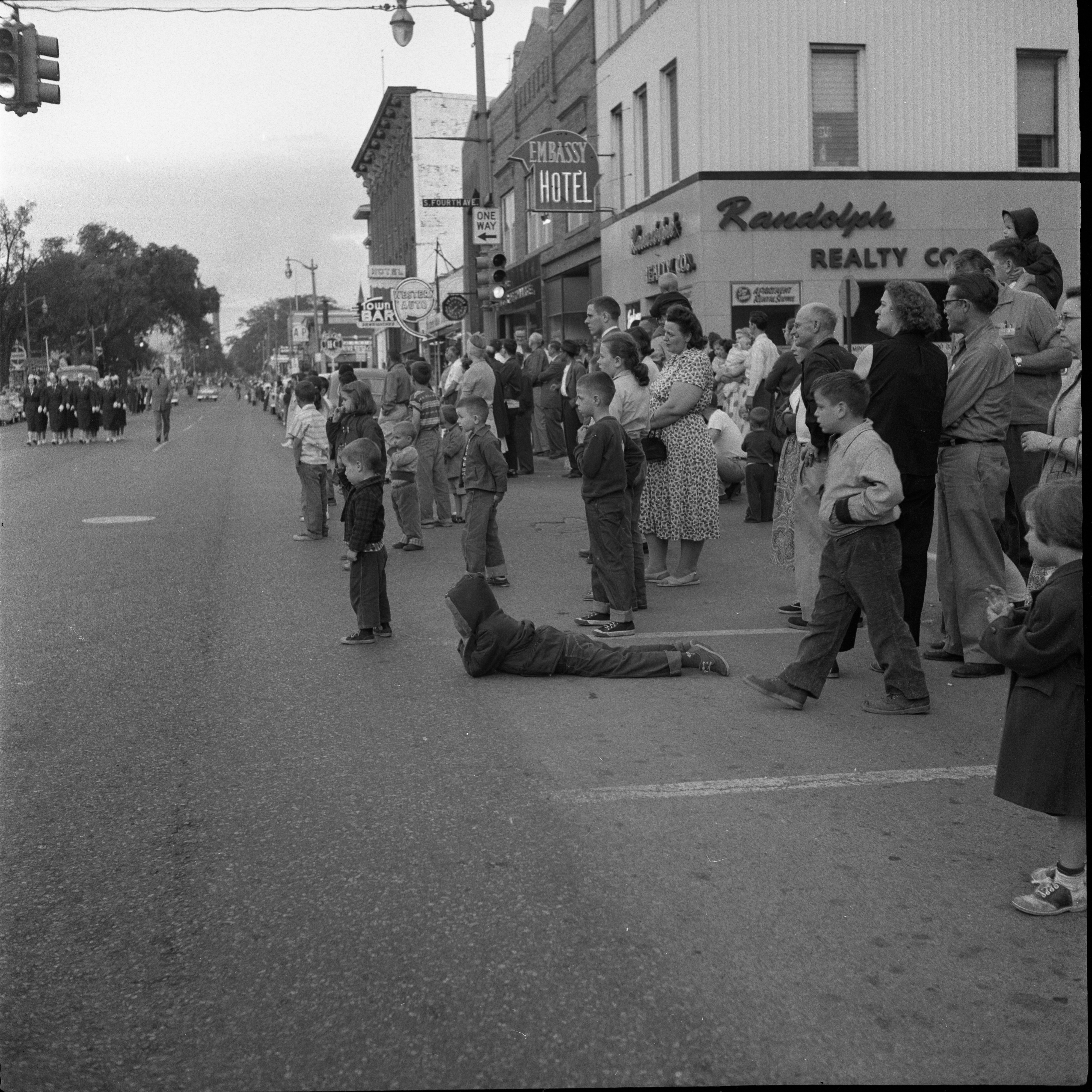 Groups Watching Memorial Day Parade at 200 E. Huron, May 1957 image