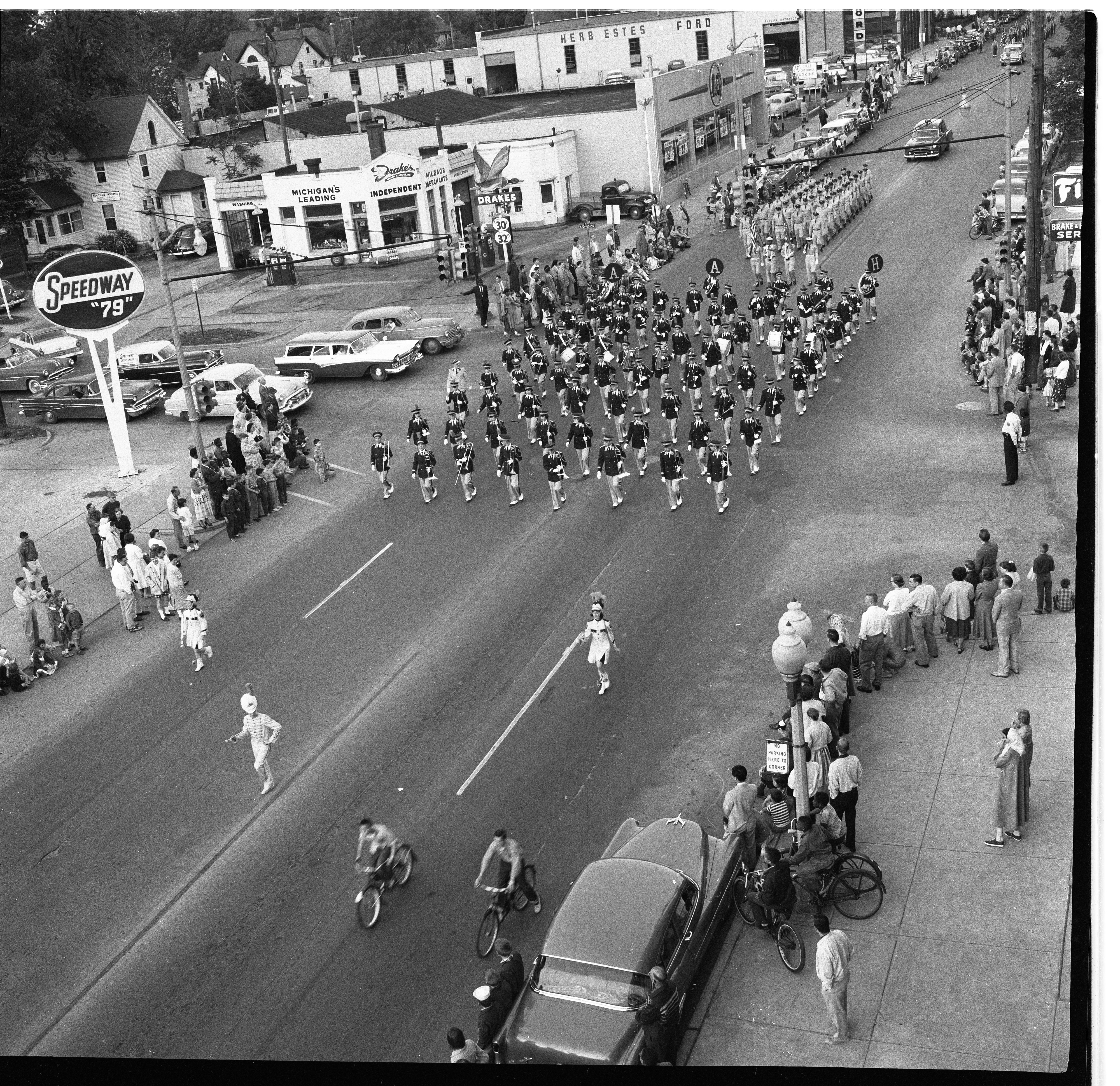 Ann Arbor High School Marching Band In Memorial Day Parade, May 1957 image