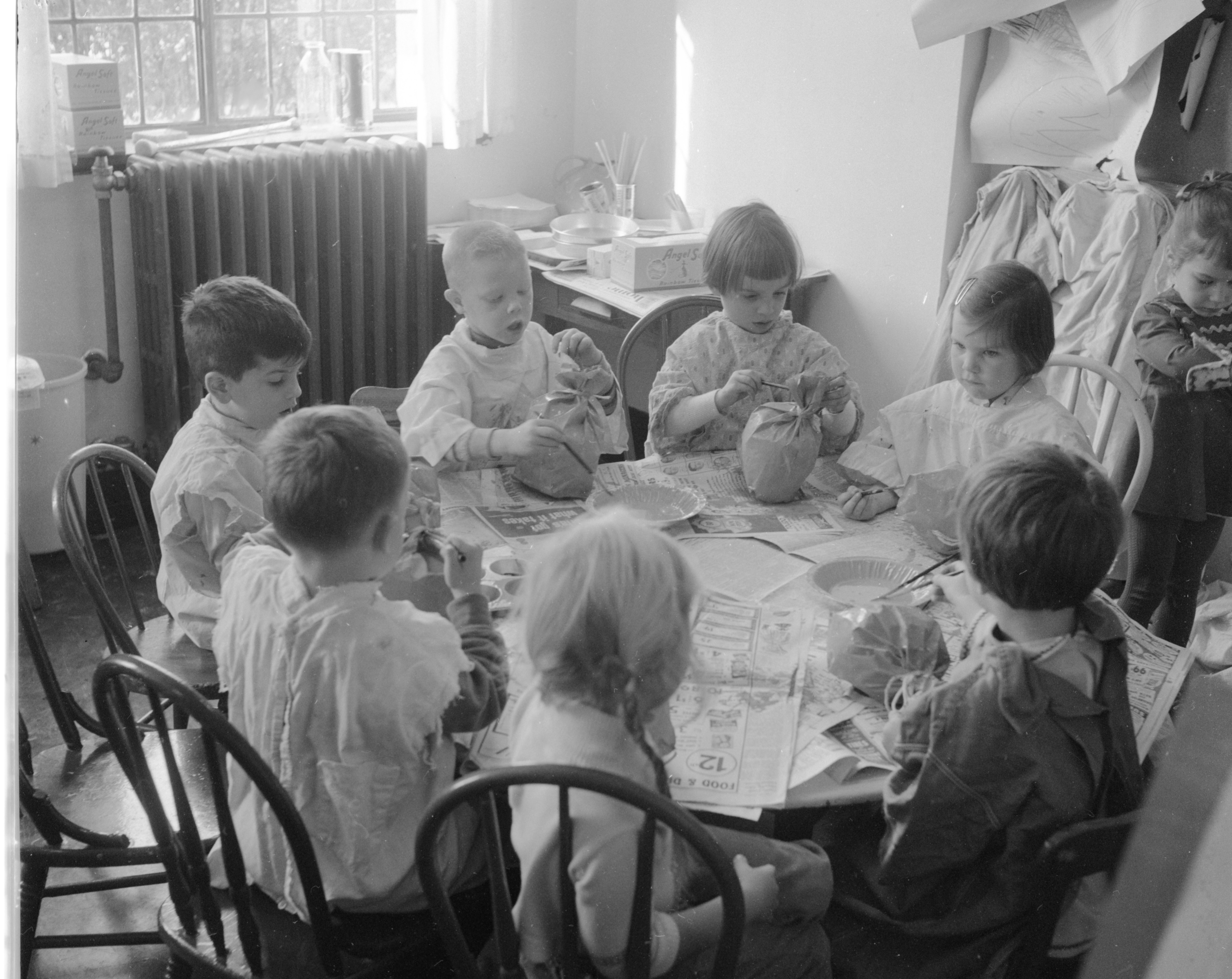 Pumpkin Painters at First Methodist Church Nursery School, October 1962 image