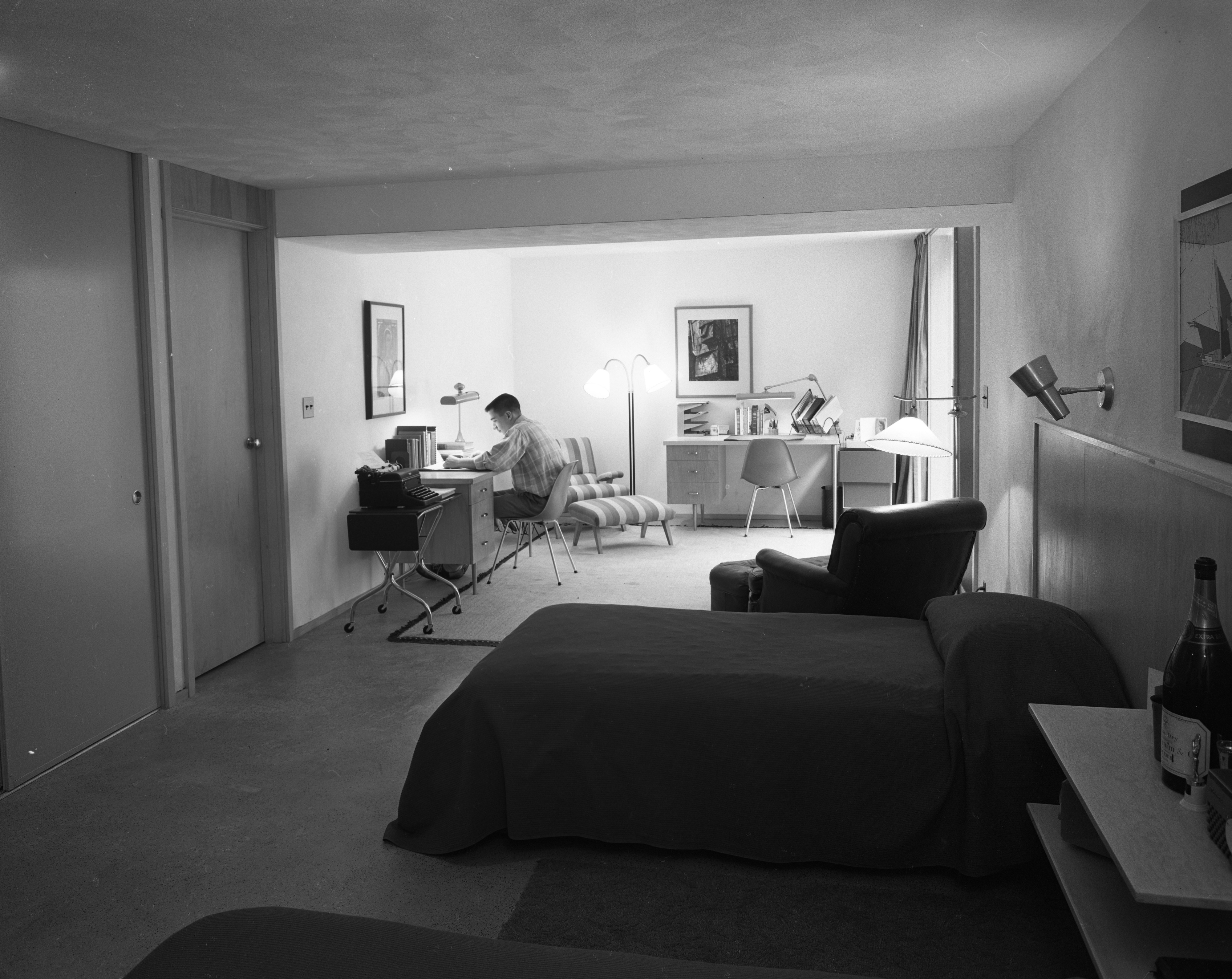 Image of: Bedroom Study Room In Forsythe Mid Century Modern Home On Barton Shore Drive January 1956 Ann Arbor District Library