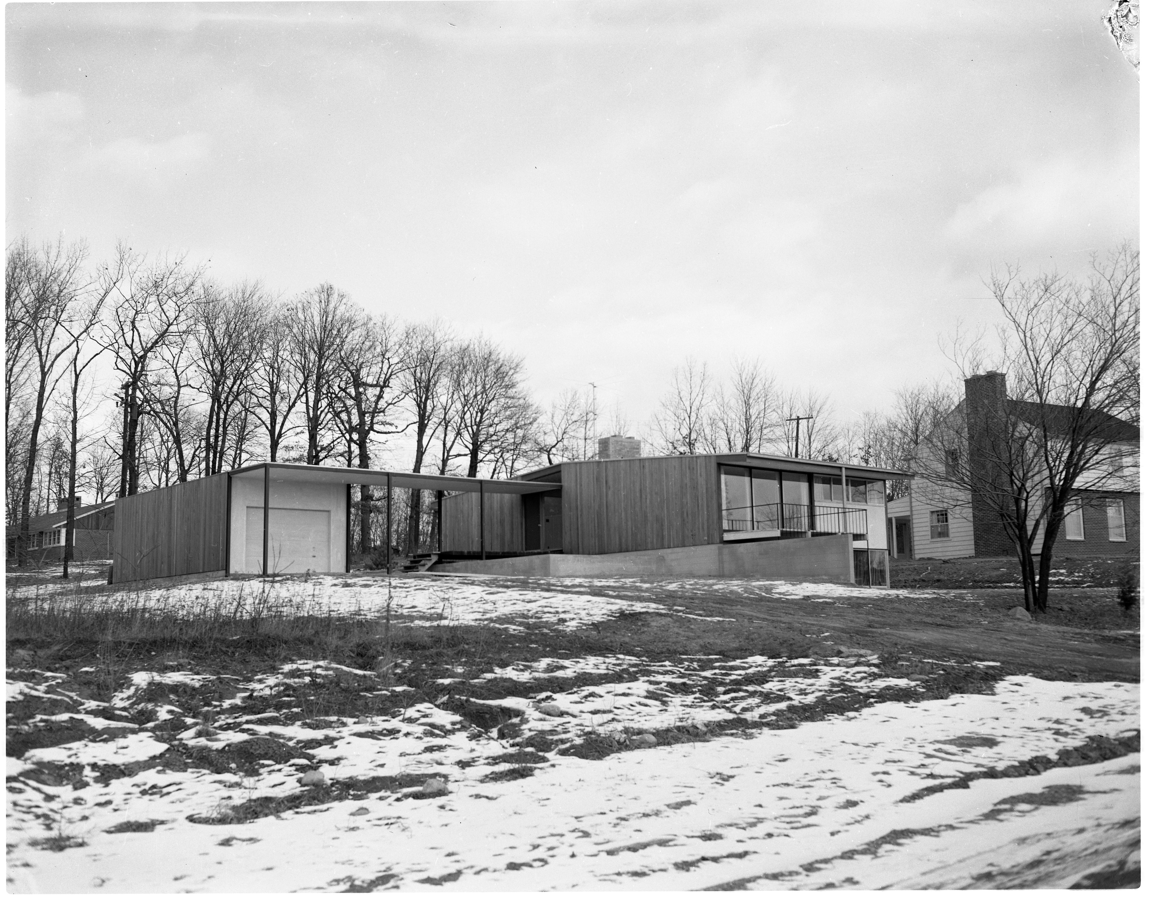 Metcalf Award-Winning Design Features Peaked Roof and Cedar Exterior, February 1955 image