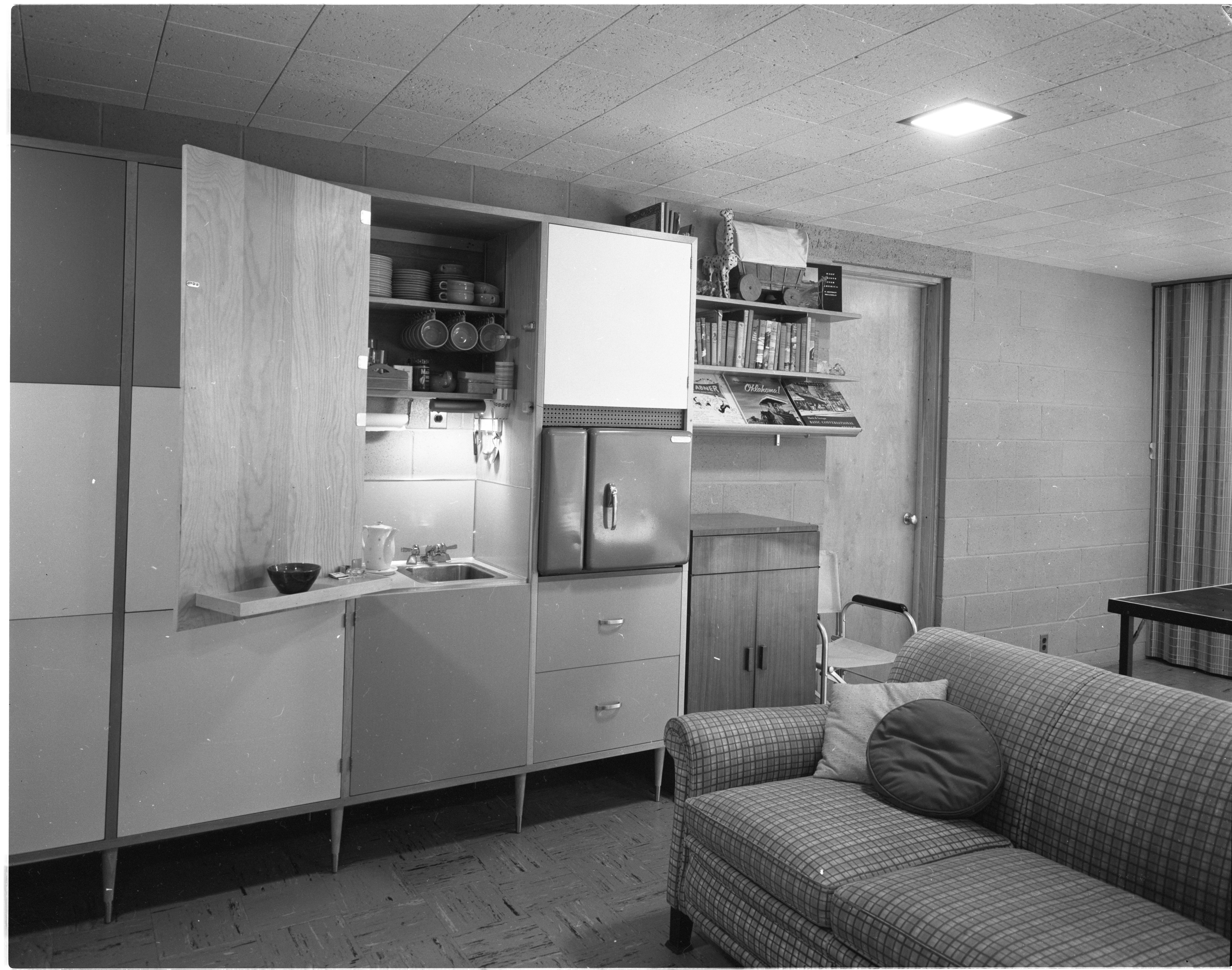 Kitchenette Adds To Usability of Recreation Room In Moore Home, June 1958 image