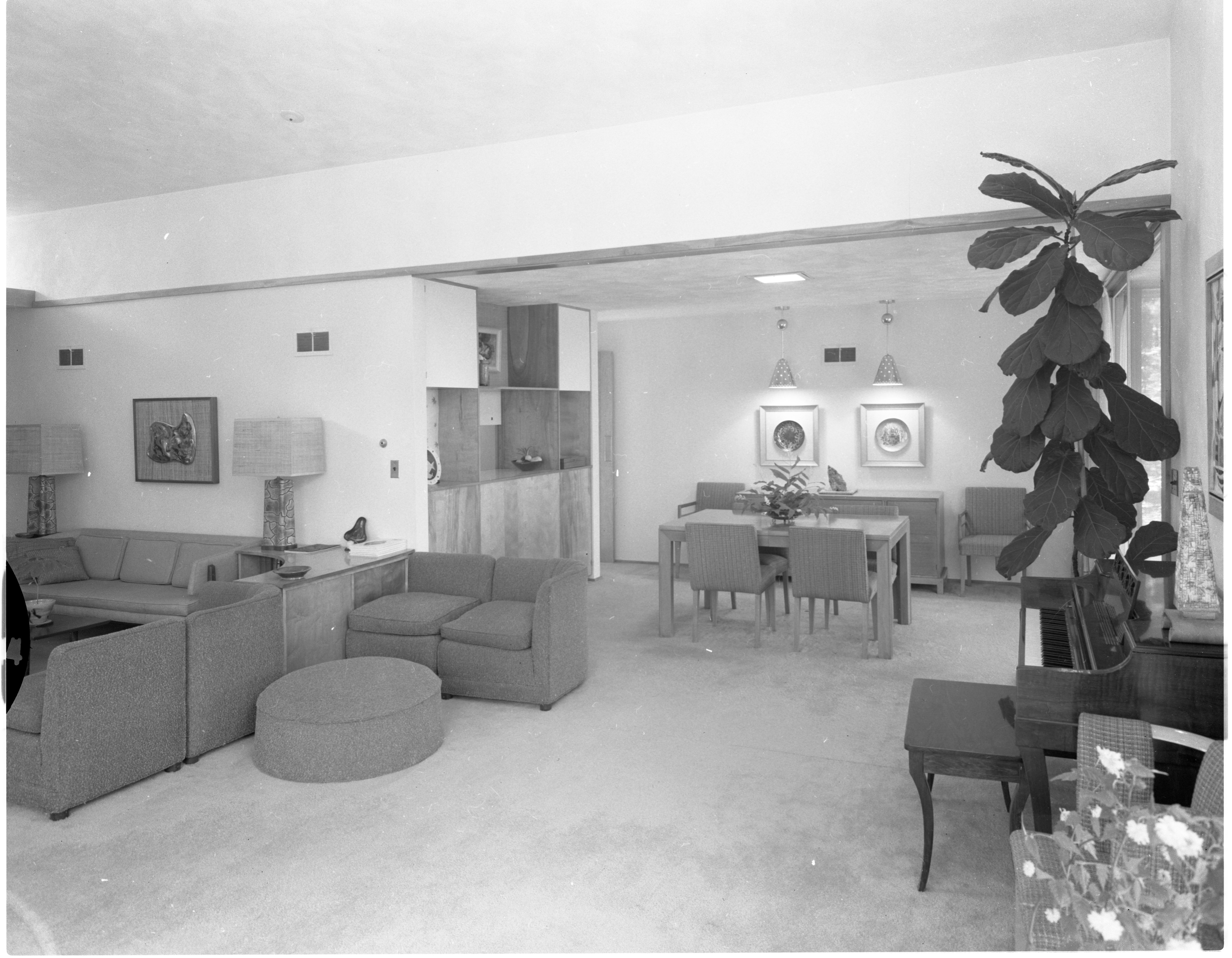 Living Room and Dining Room Elegantly Furnished In Moore Home, June 1958 image