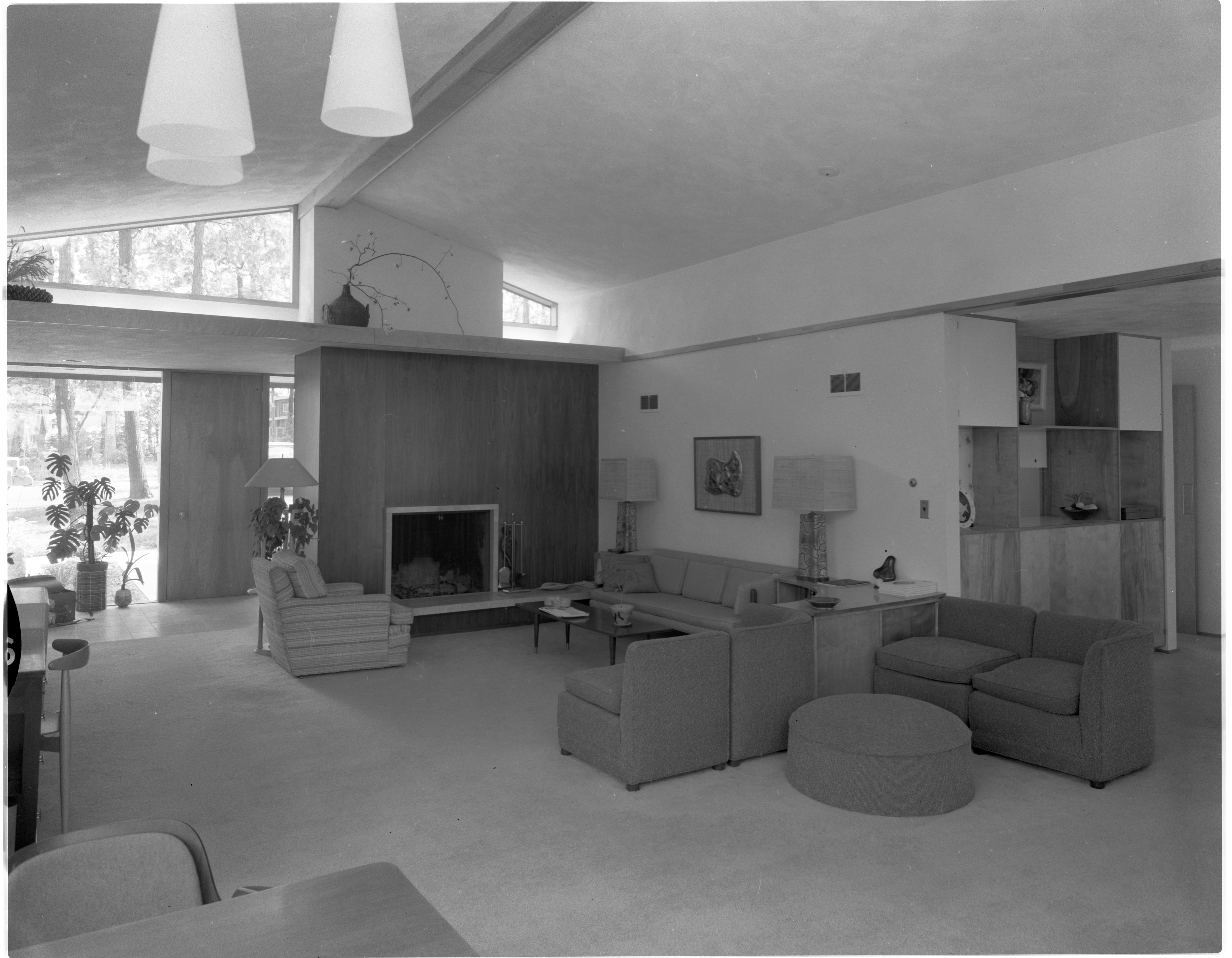 Light Shelf Design Incorporated Into Living Room of Moore Home, June 1958 image