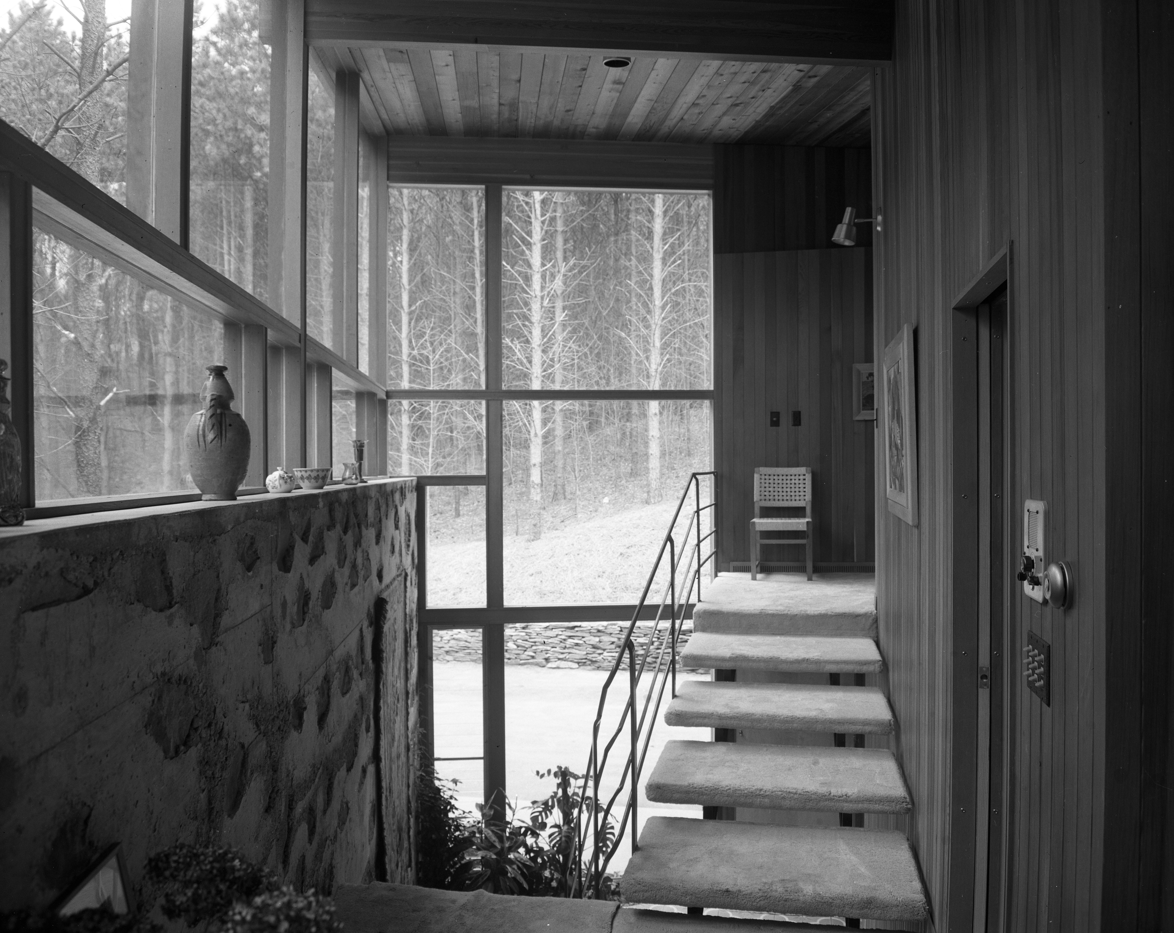 Divided Stairway of Bacon Family Mid-Century Modern Home On Barton Shore Drive, April 1957 image