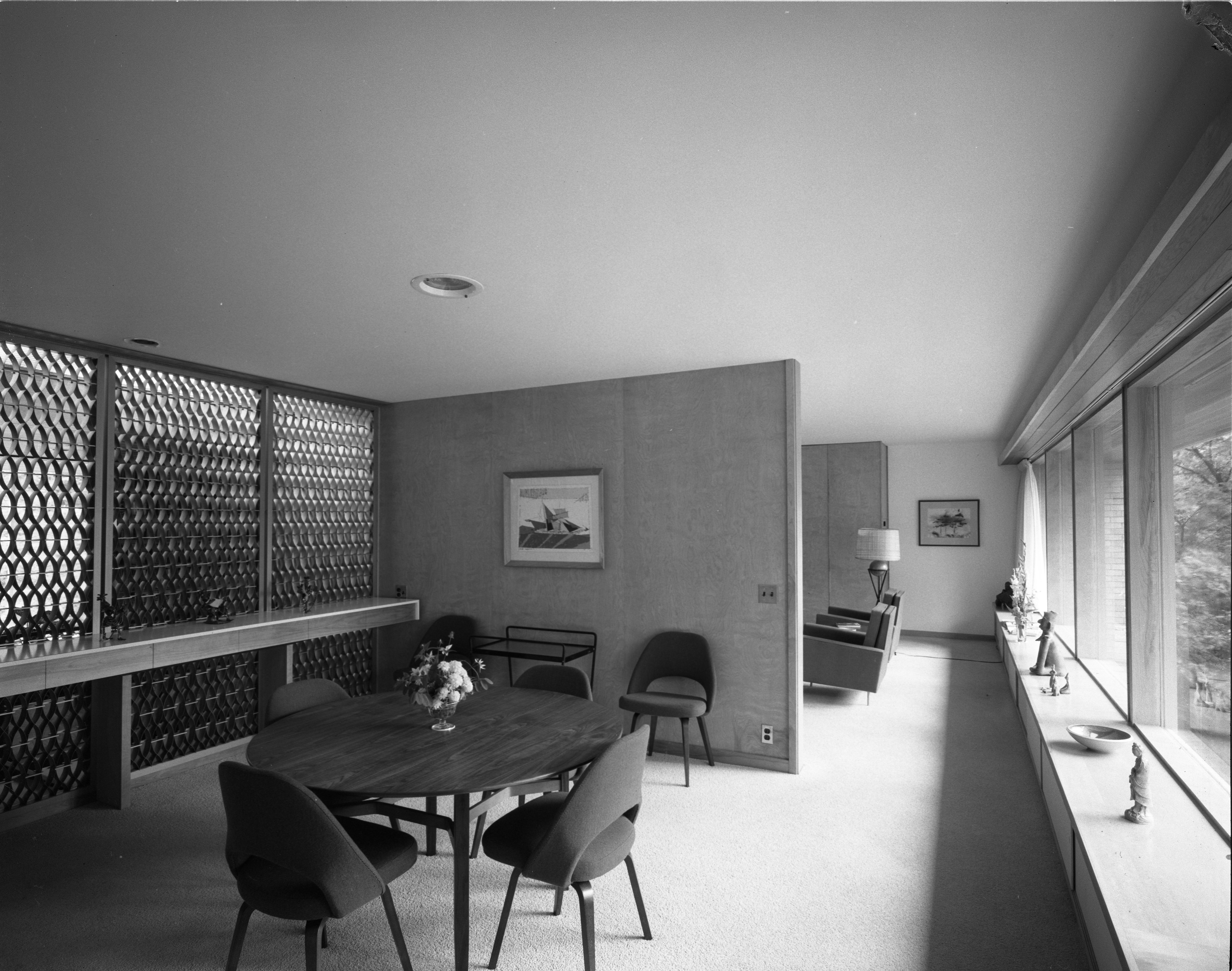 Dining Room In the Pryor Mid-Century Modern Home In Barton Hills, July 1960 image
