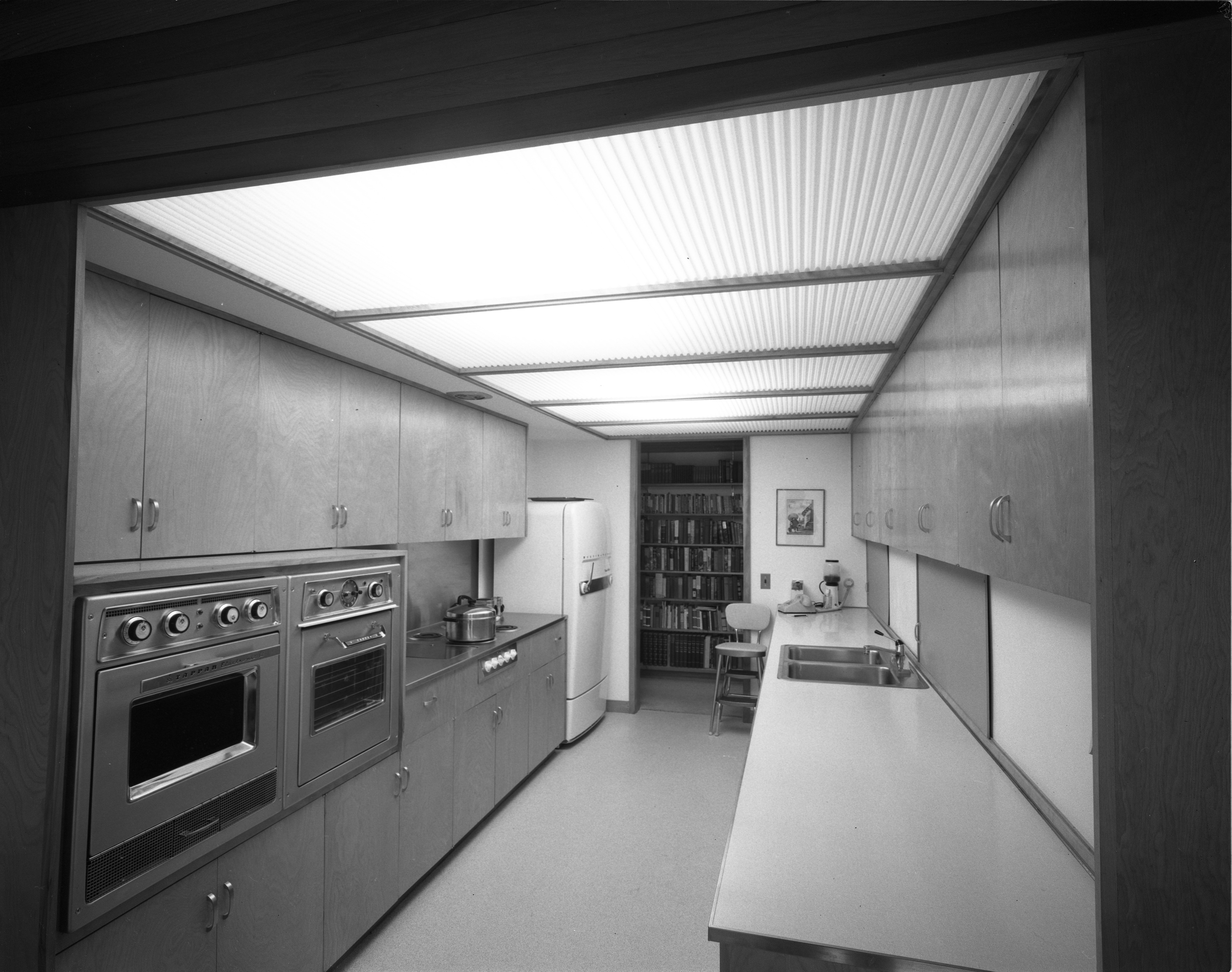 Double Ovens a Feature of Kitchen In the Pryor Mid-Century Modern Home In Barton Hills, July 1960 image