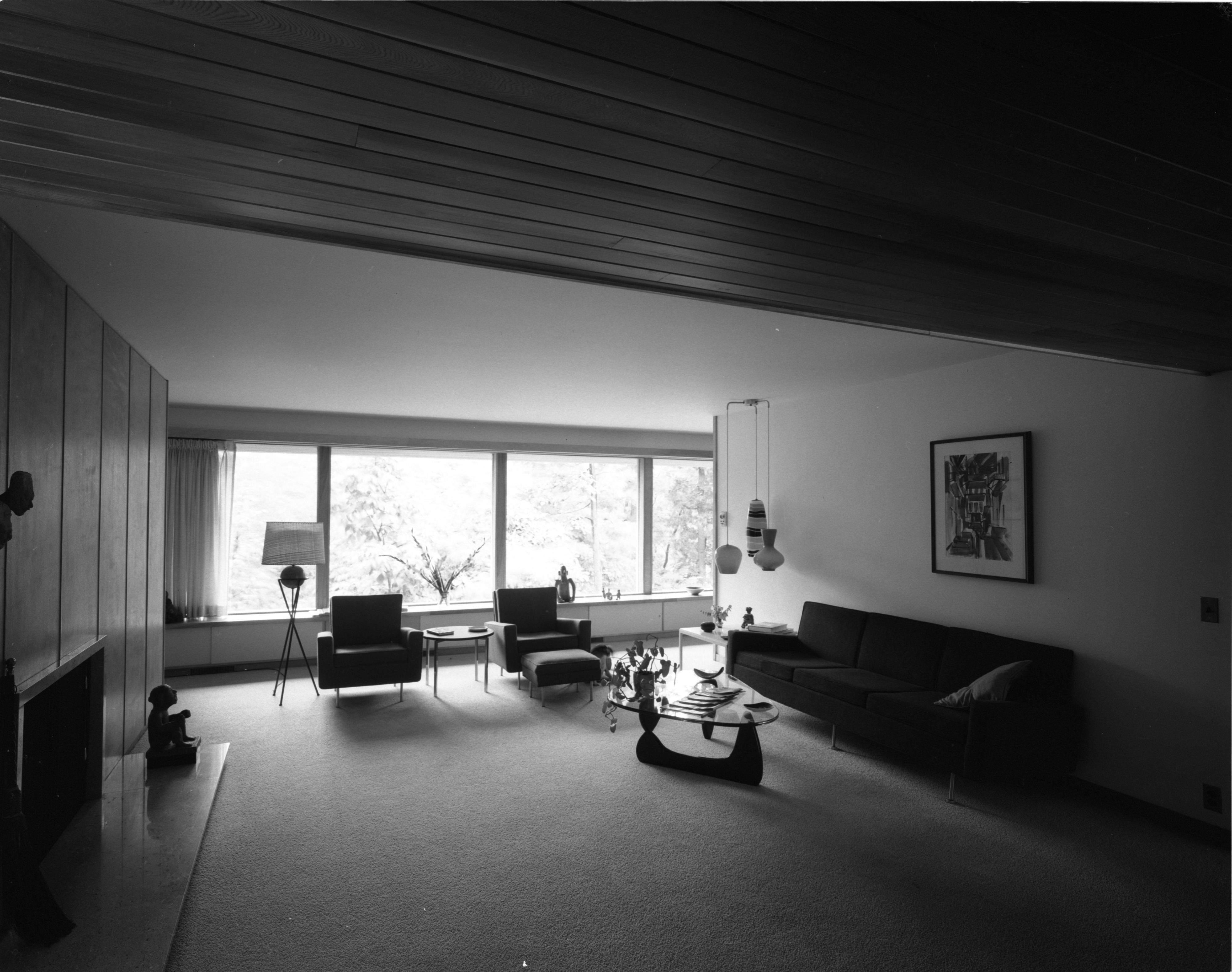 Living Room In the Pryor Mid-Century Modern Home In Barton Hills, July 1960 image