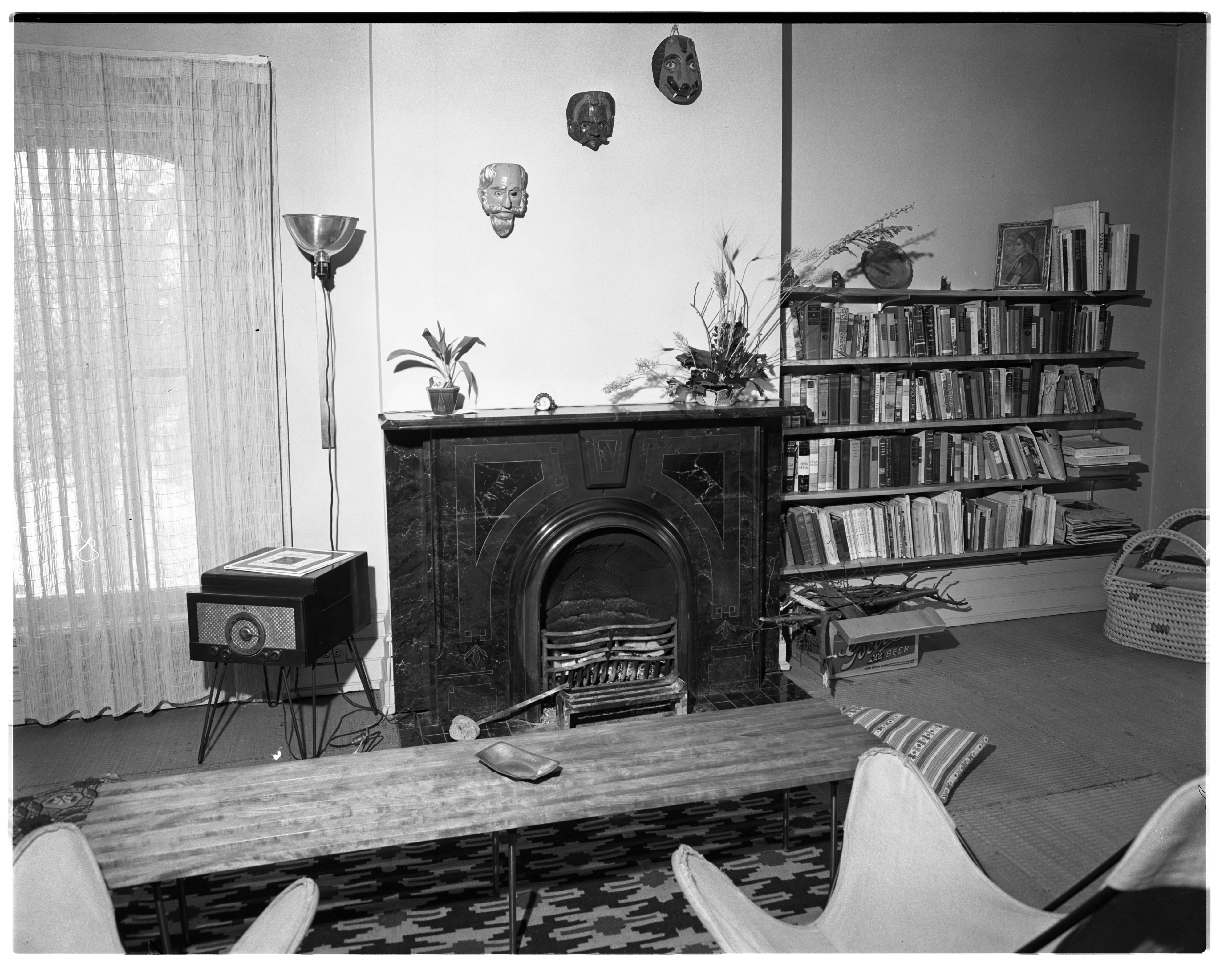 Beal Home, Fireplace, February 1956 image