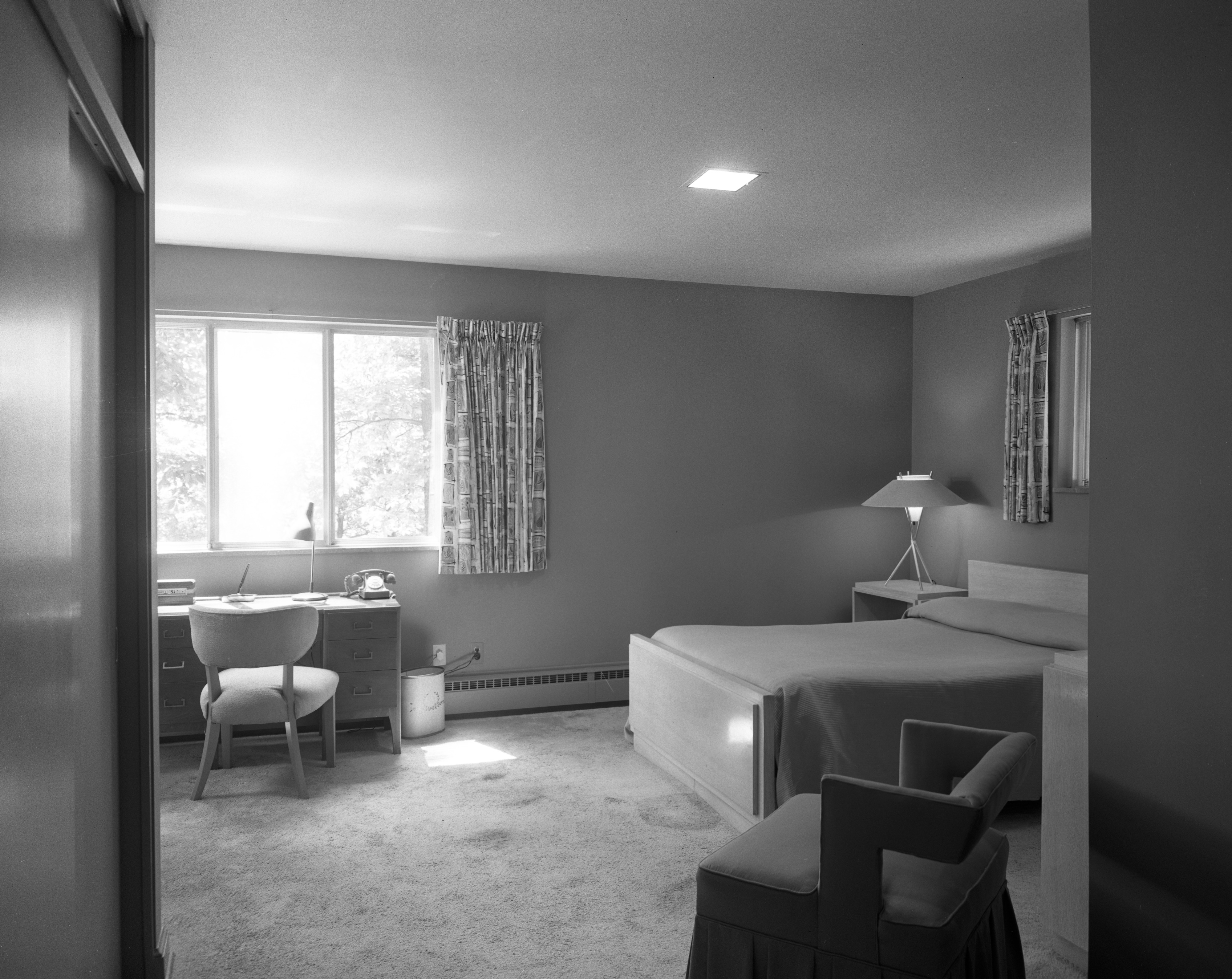 Bedroom In Brown Family Mid-Century Modern Home on N Maple Road, July 1956 image