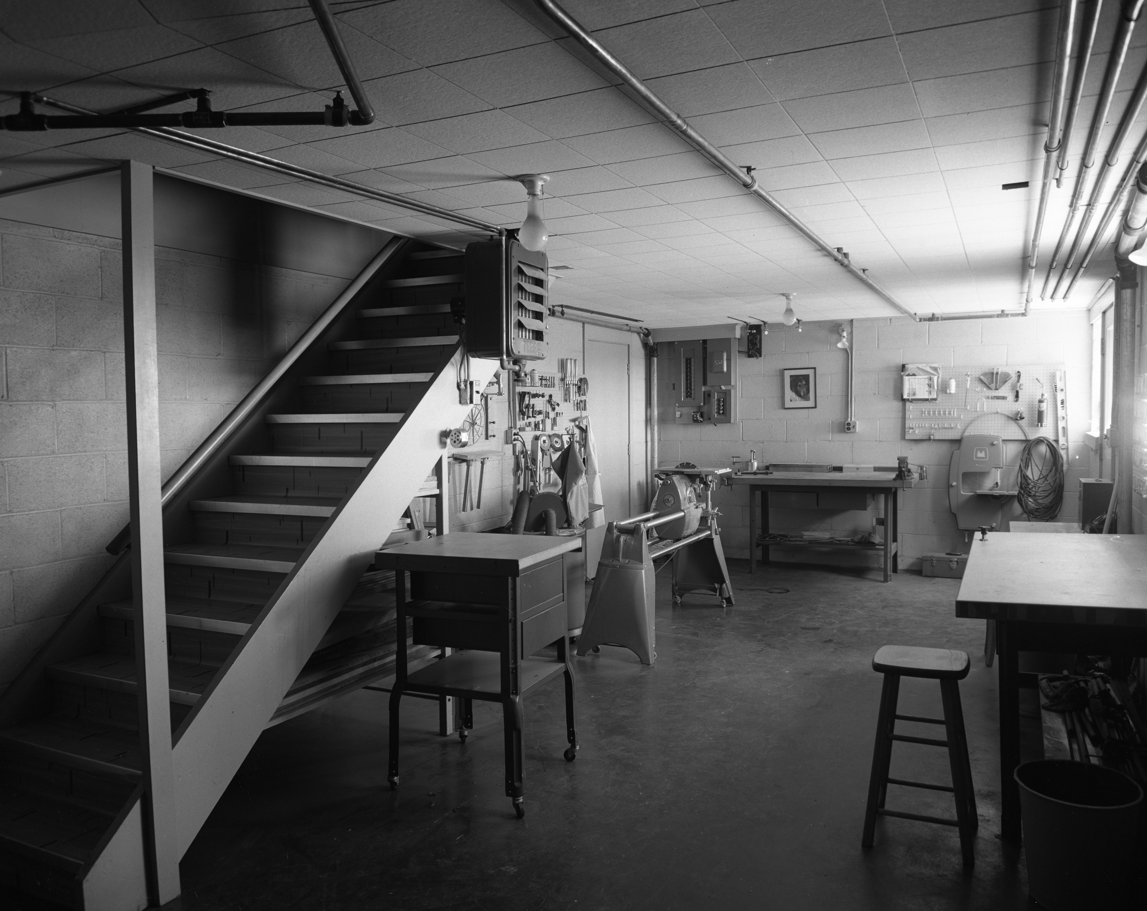 Lower Level In Brown Family Mid-Century Modern Home on N Maple Road, July 1956 image