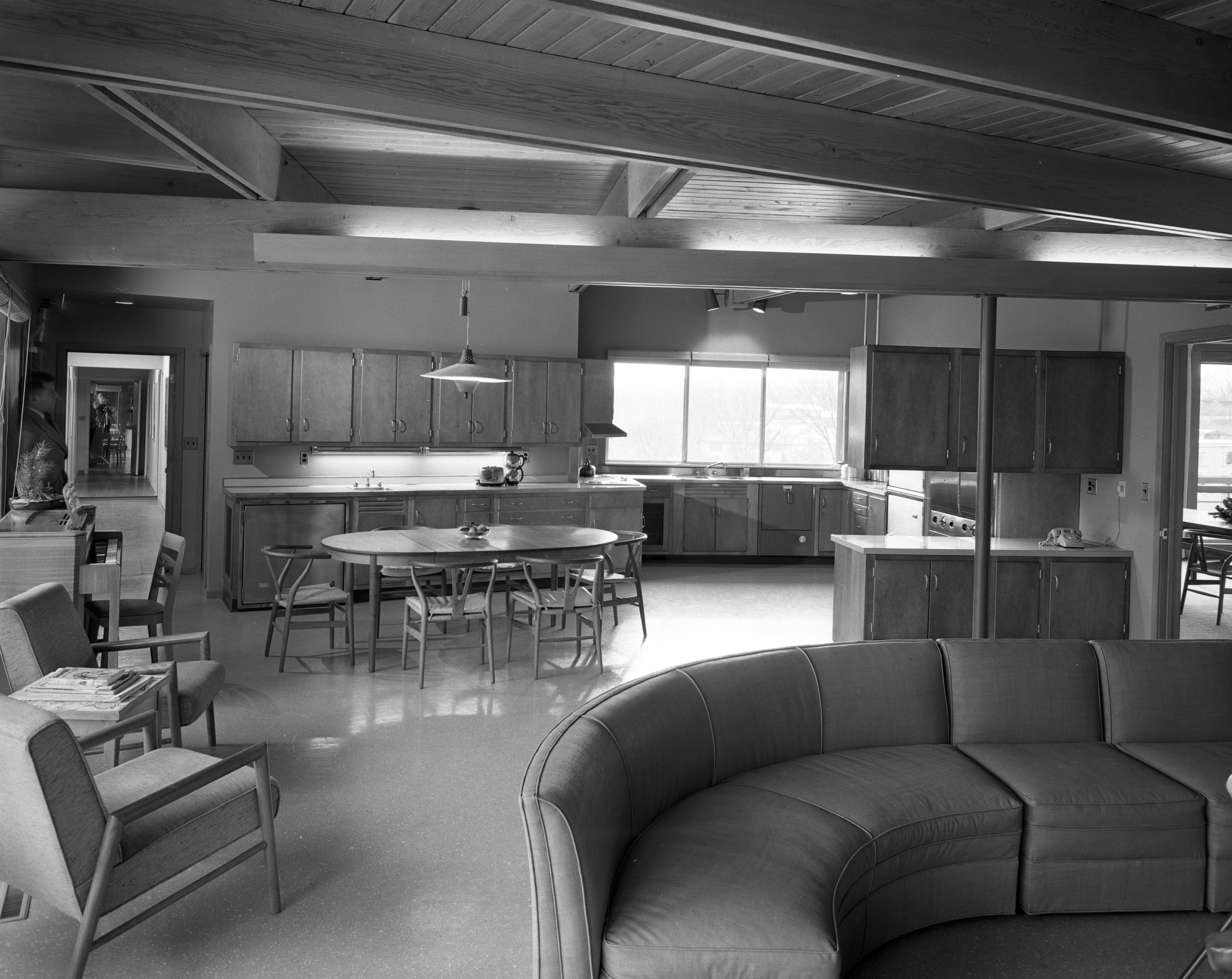 Open Planning Joins Family Room to Kitchen in Darrell and Jenny Campbell Home, January 1957 image