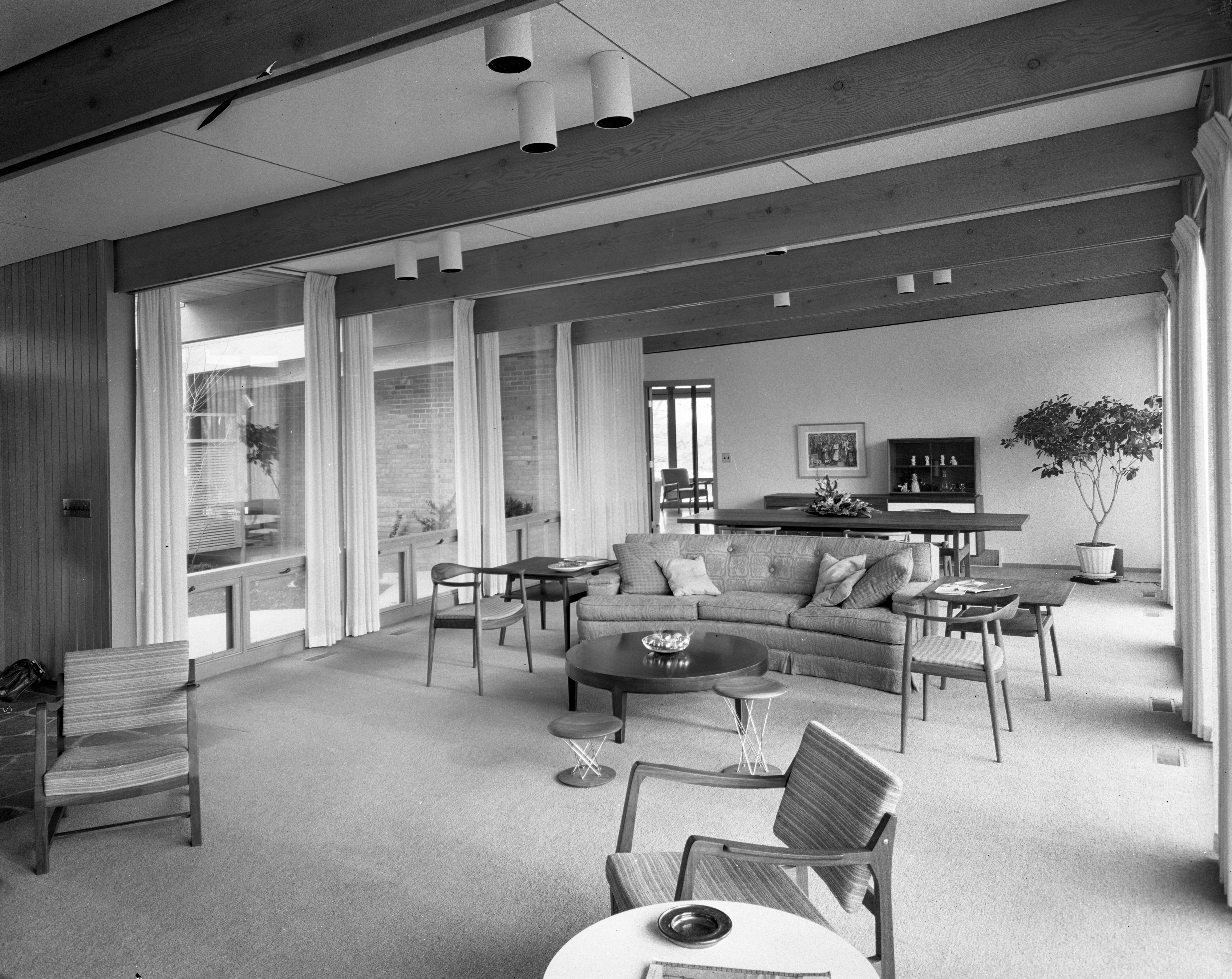 View to Living Room in Darrell and Jenny Campbell Home, January 1957 image