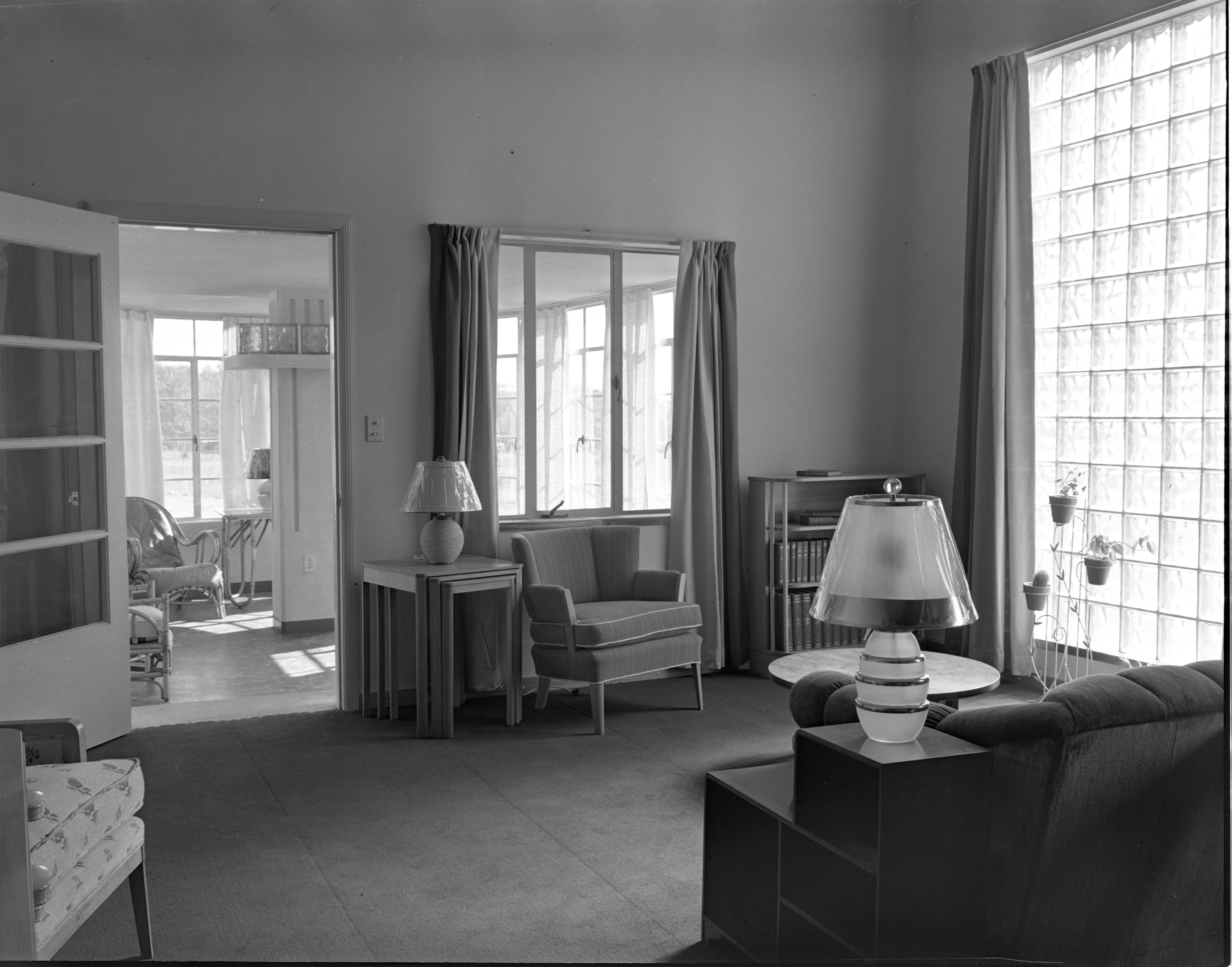 Living Room, Looking Into Sunroom, Of Newly Built 1449 Greenview Drive, October 1938 image
