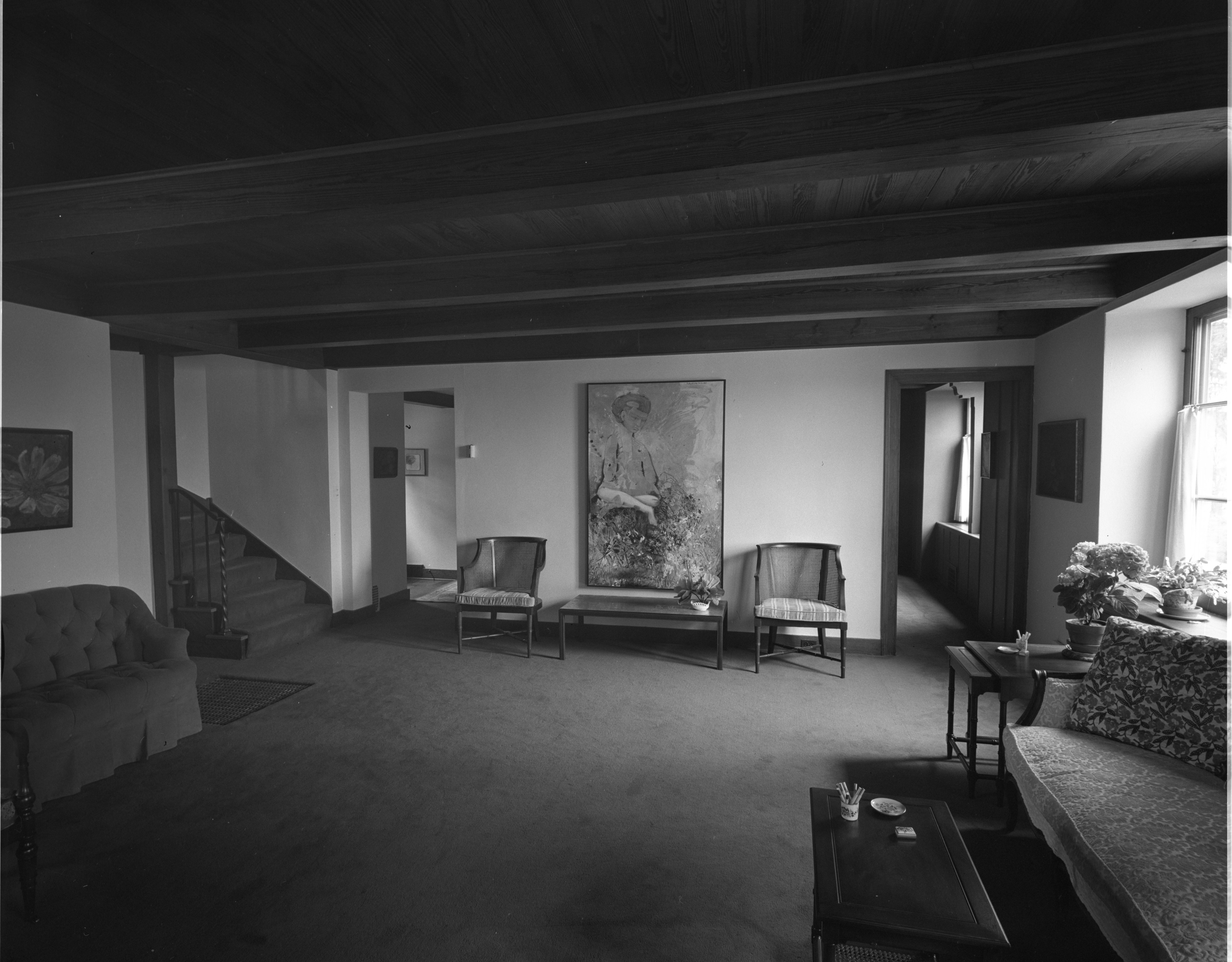 Wood-Beamed Ceilings at Dr. William C. Grabb Residence, April 1967 image