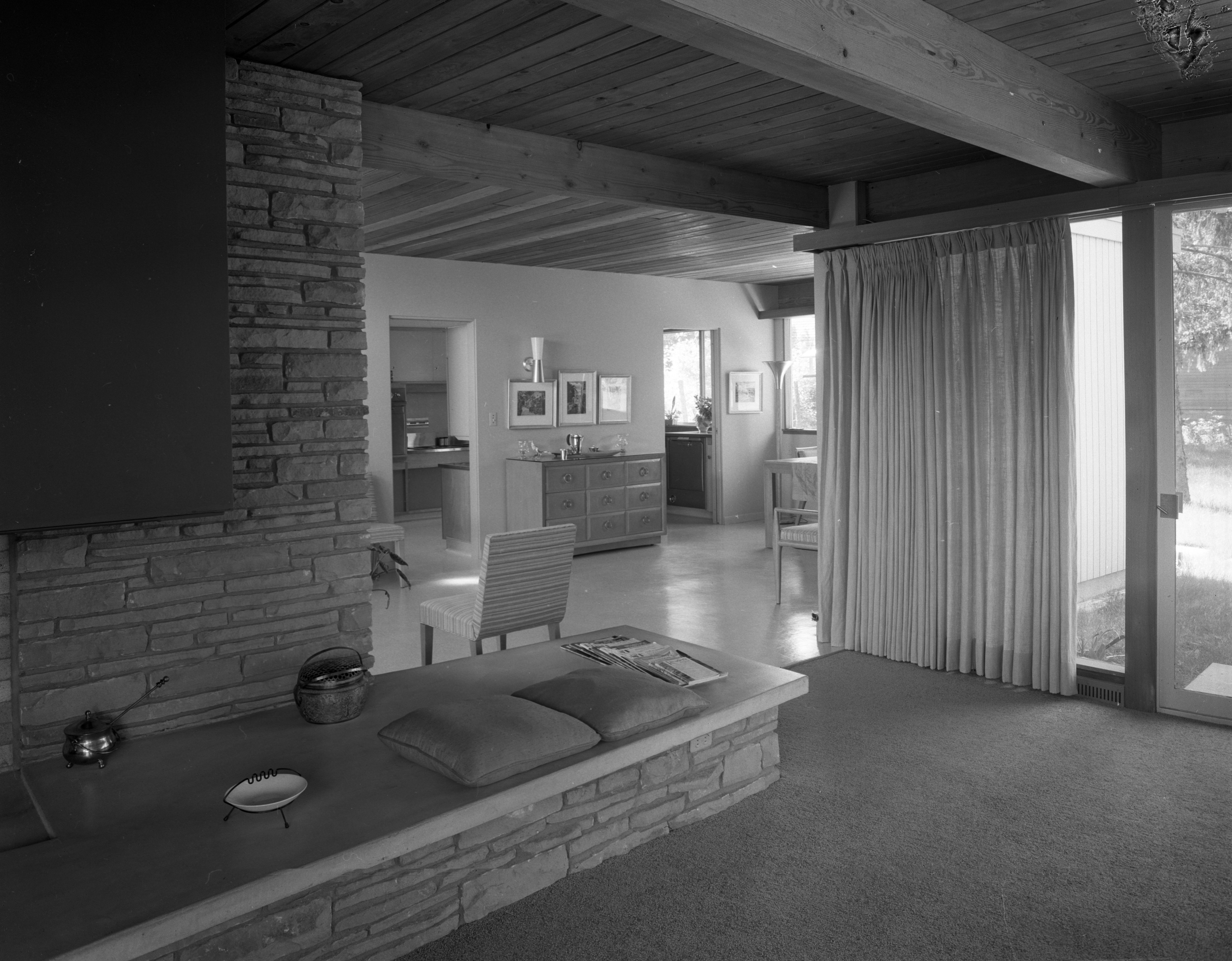 Ledge-Rock Fireplace In Hodges' Mid-Century Modern Home On Highland Lane, September 1957 image