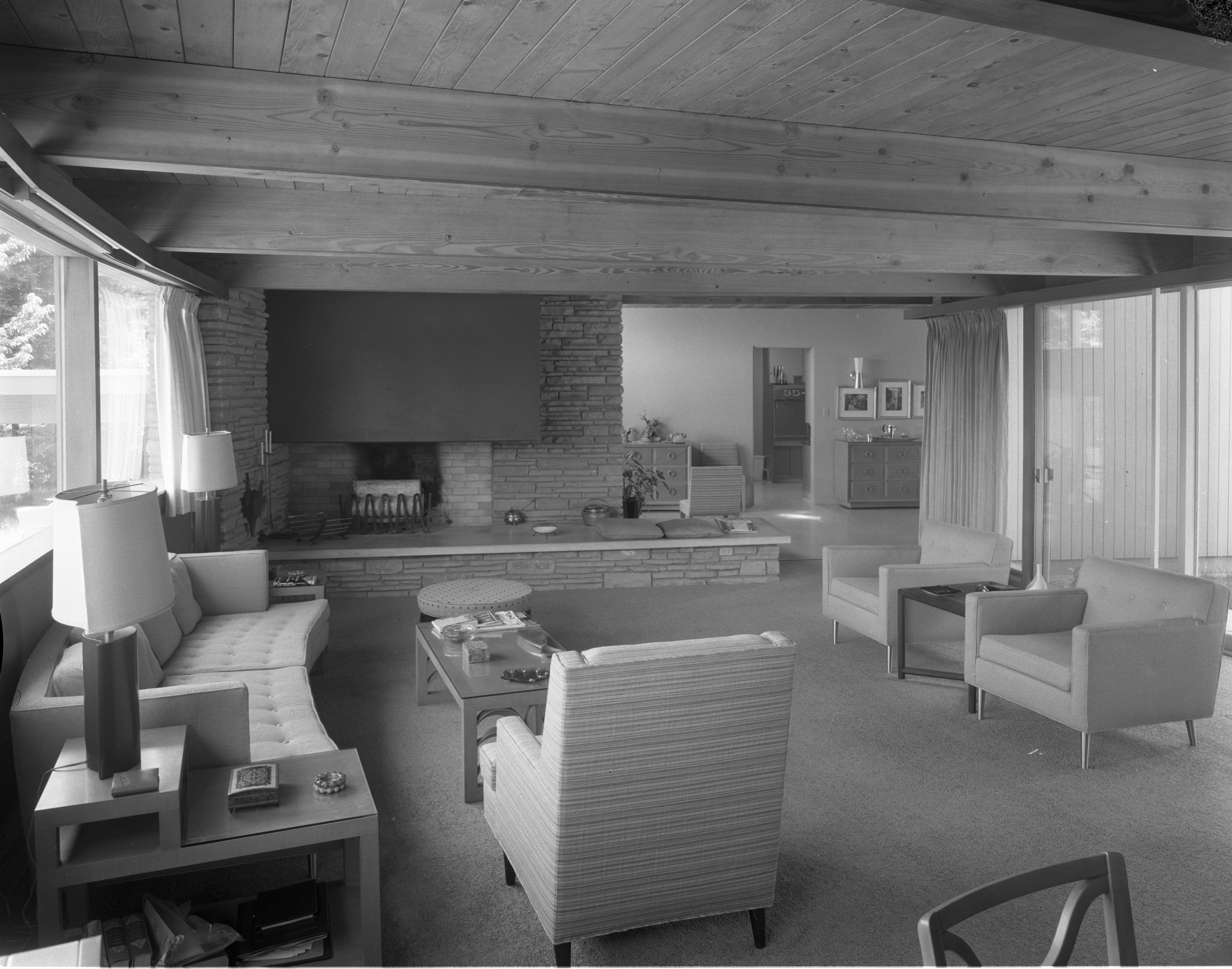Living Room In Hodges' Mid-Century Modern Home On Highland Lane, September 1957 image