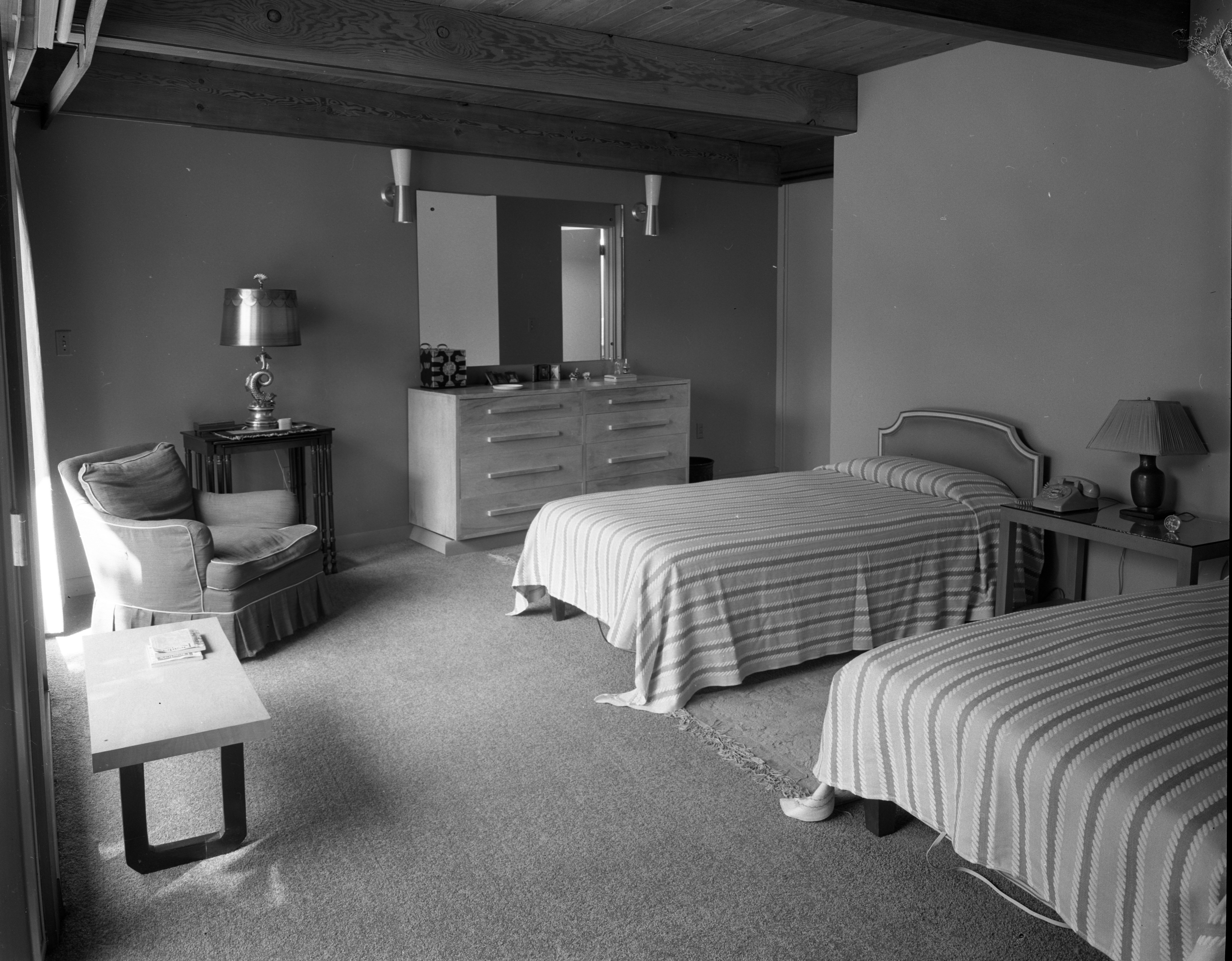 Master Bedroom In Hodges' Mid-Century Modern Home On Highland Lane, September 1957 image