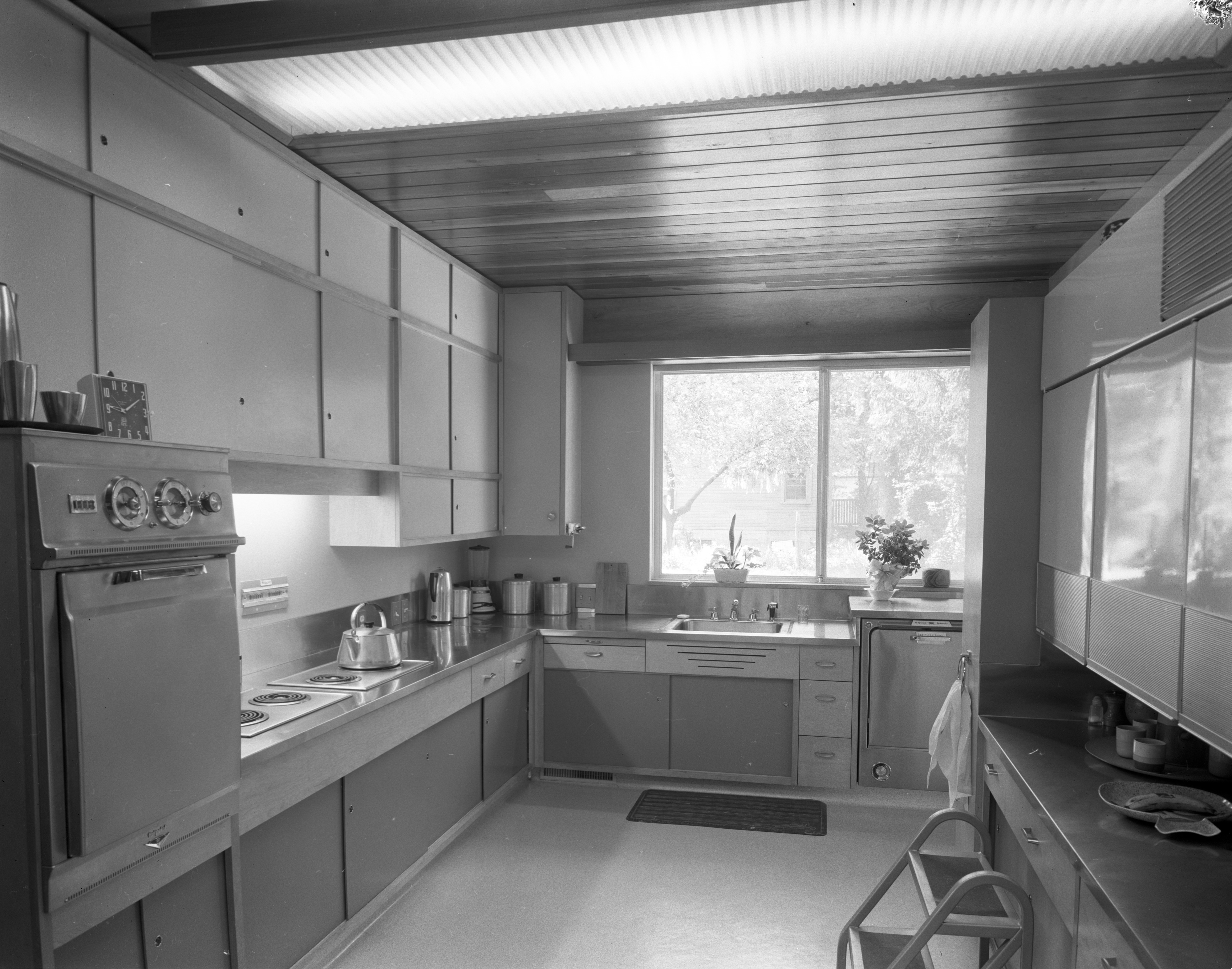 Kitchen In Hodges' Mid-Century Modern Home On Highland Lane, September 1957 image