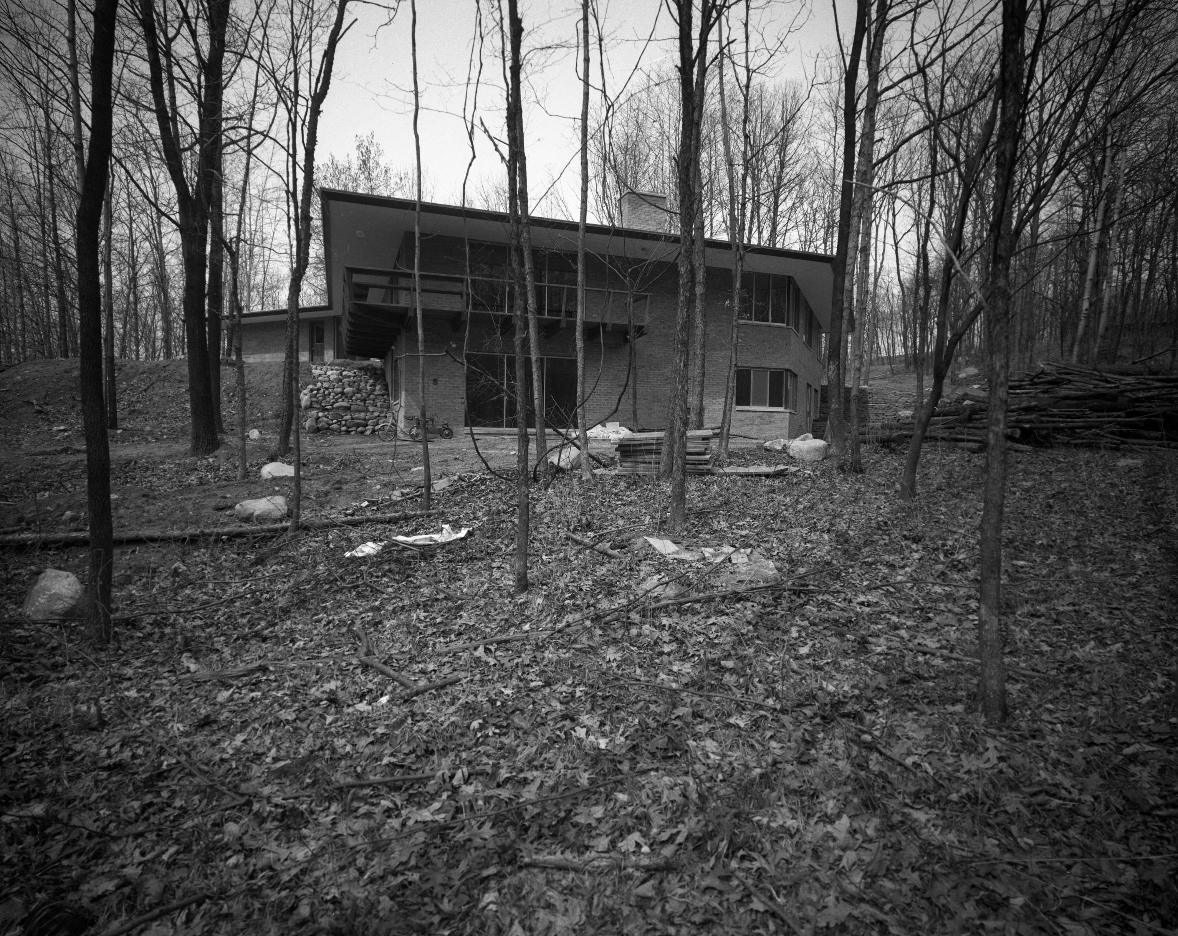 Wooded Lot Setting For Holmes Mid-Century Modern Home On N Barton Dr., April 1961 image