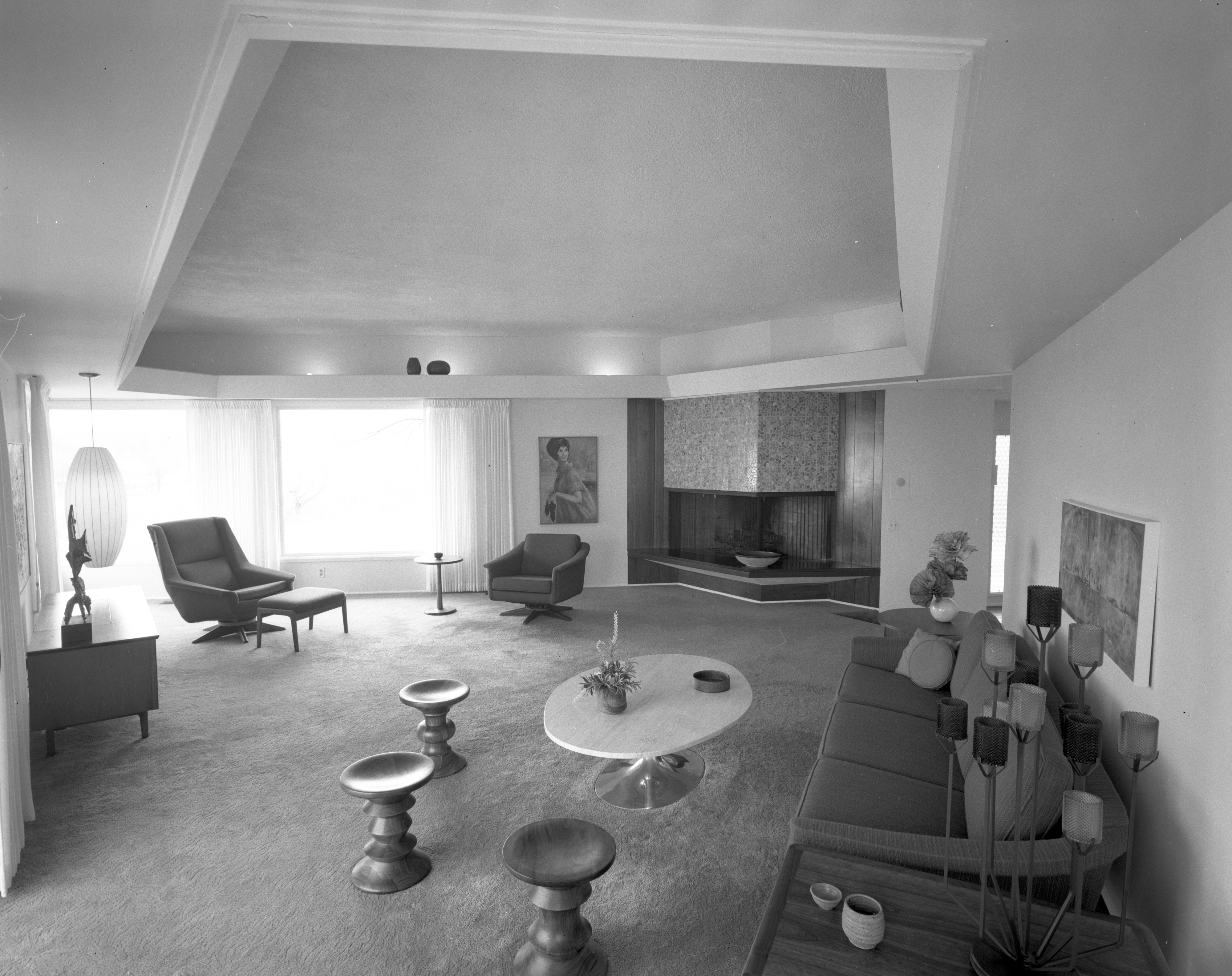 Angled Fireplace Anchors Living Room at Merlyn C. Keller Residence, April 1967 image