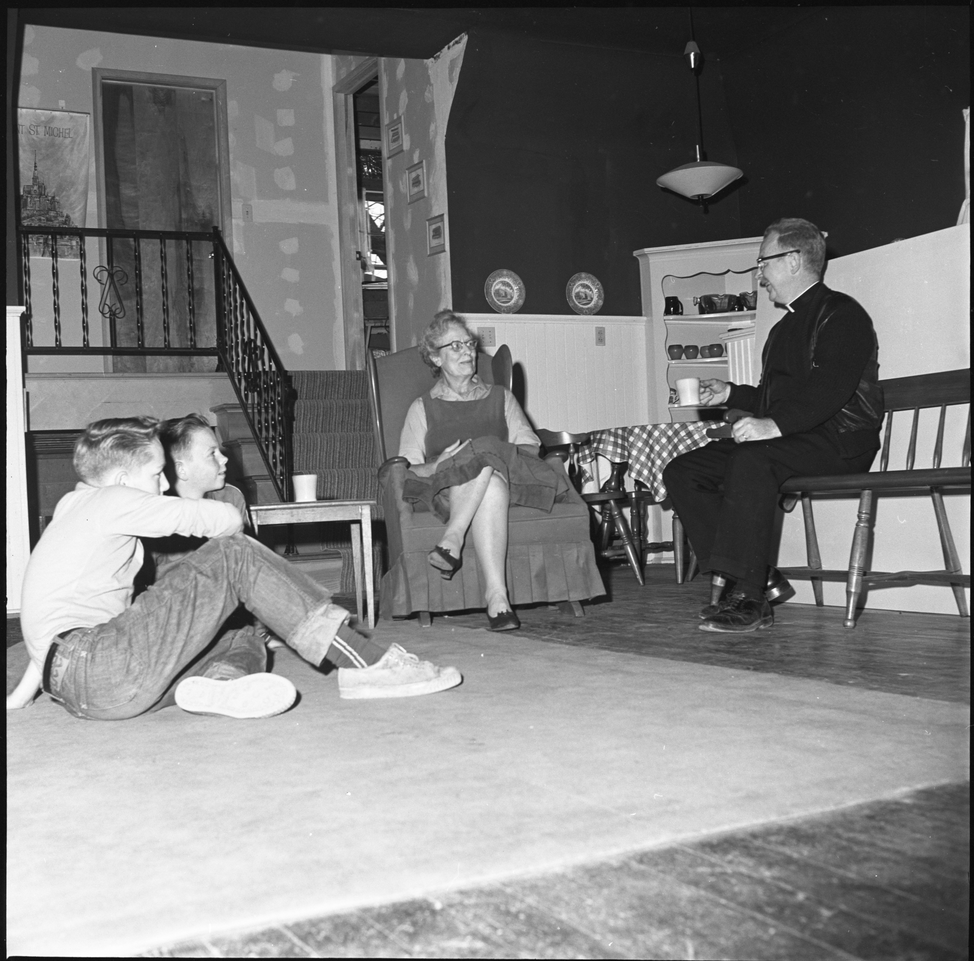 The Miller Family Relaxes In Their Renovated Schoolhouse Home, December 1960 image