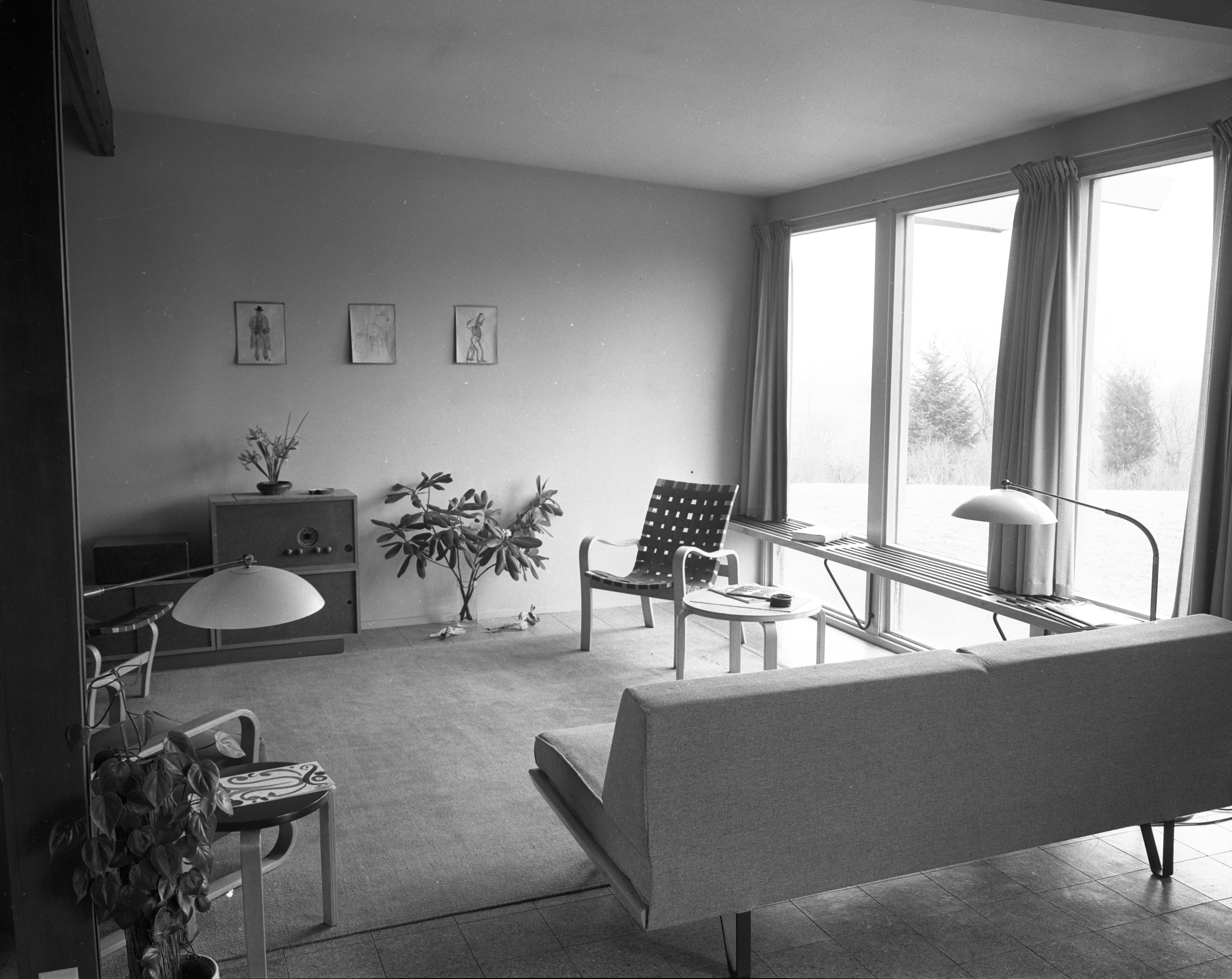 Living Room At Architect Richard M. Robinson Home On Huron View Blvd., 1953 image