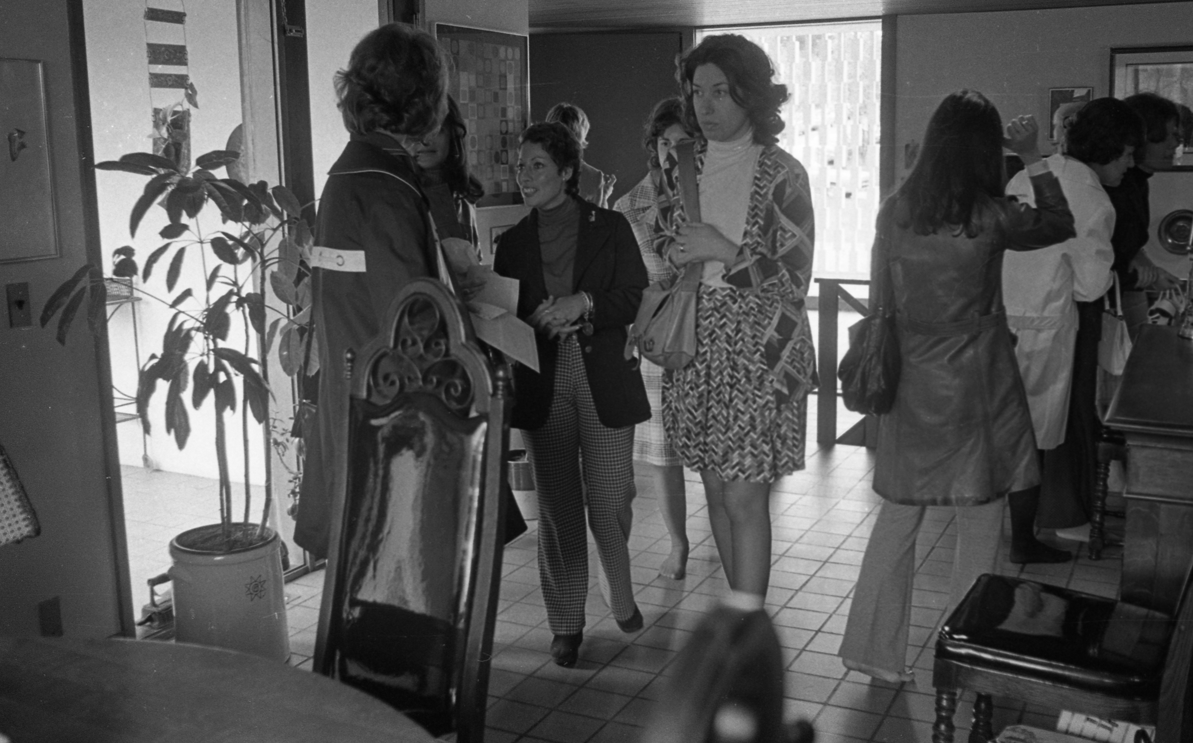 Lots of Traffic at Siegel Home on Belmont Rd Featured In Ann Arbor Women's City Club Tour, June 1973 image